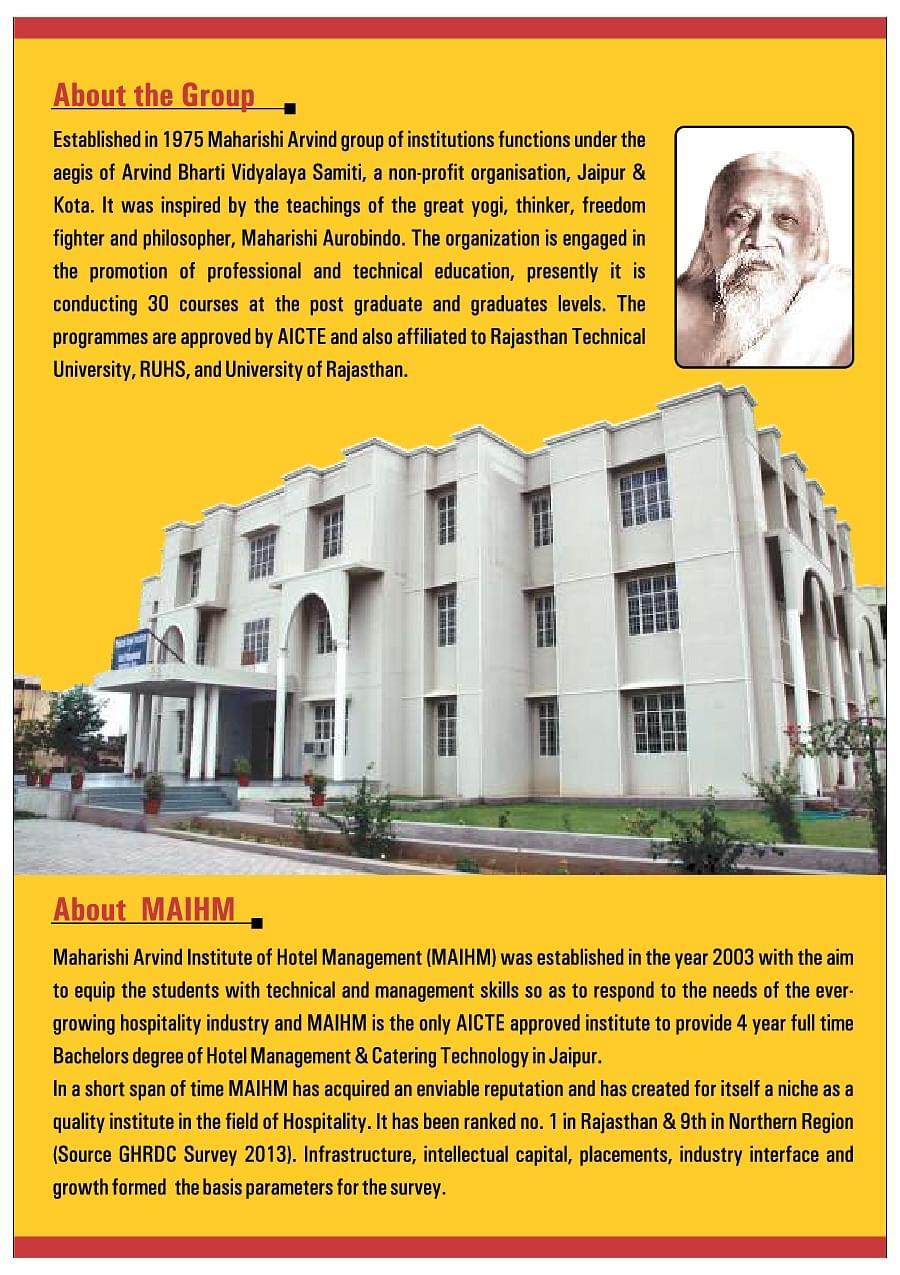Maharishi Arvind Institute Of Hotel Management Maihm Jaipur Admissions Contact Website