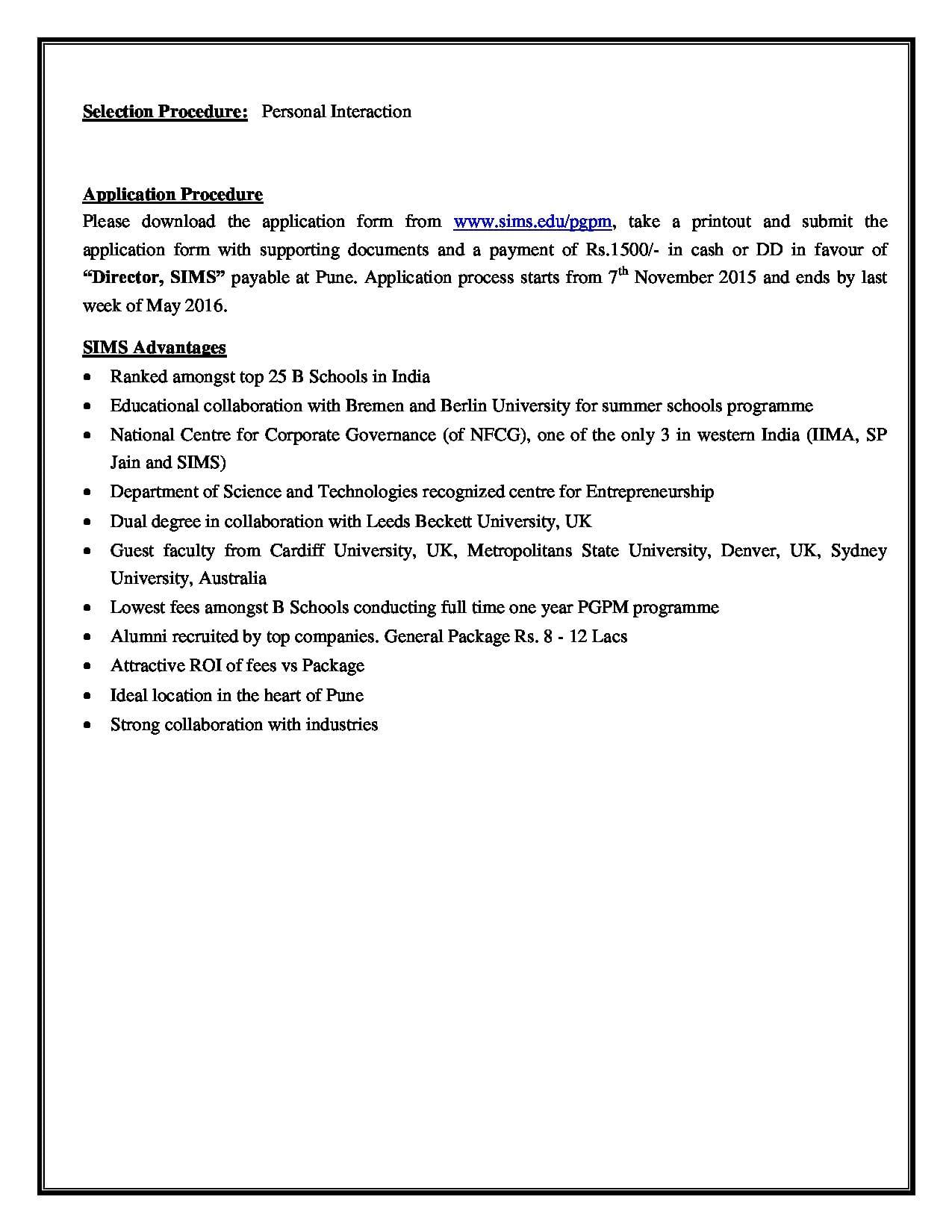Symbiosis Institute of Management Studies - [SIMS], Pune ...