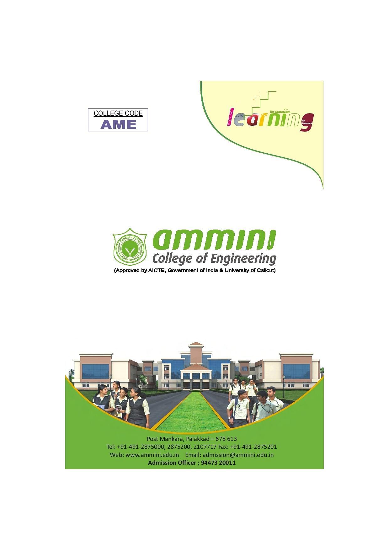 Ammini College of Engineering - [ACE], Palakkad B.Tech Brochure image 1