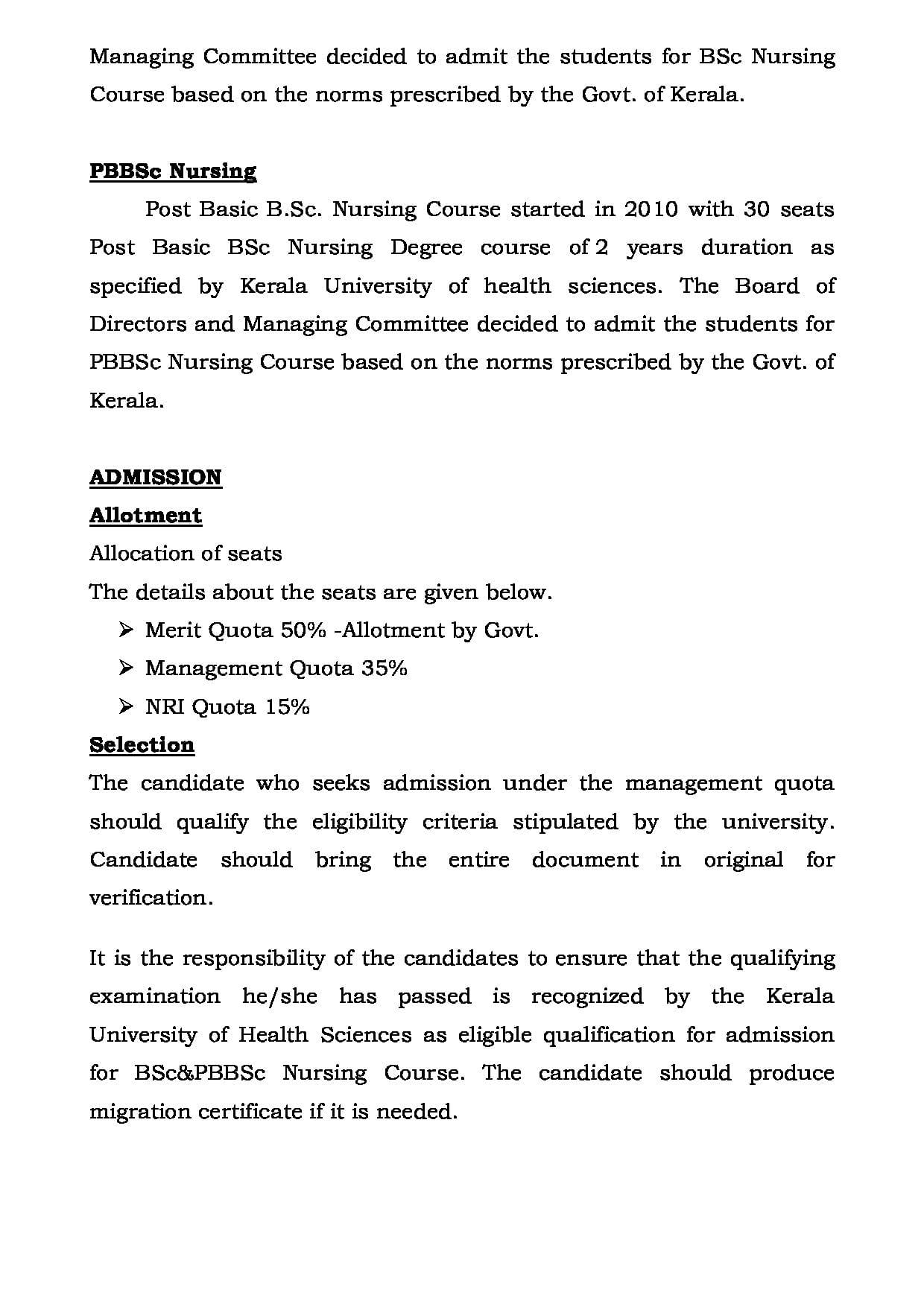 Co-Operative College of Nursing, Trivandrum - Admissions