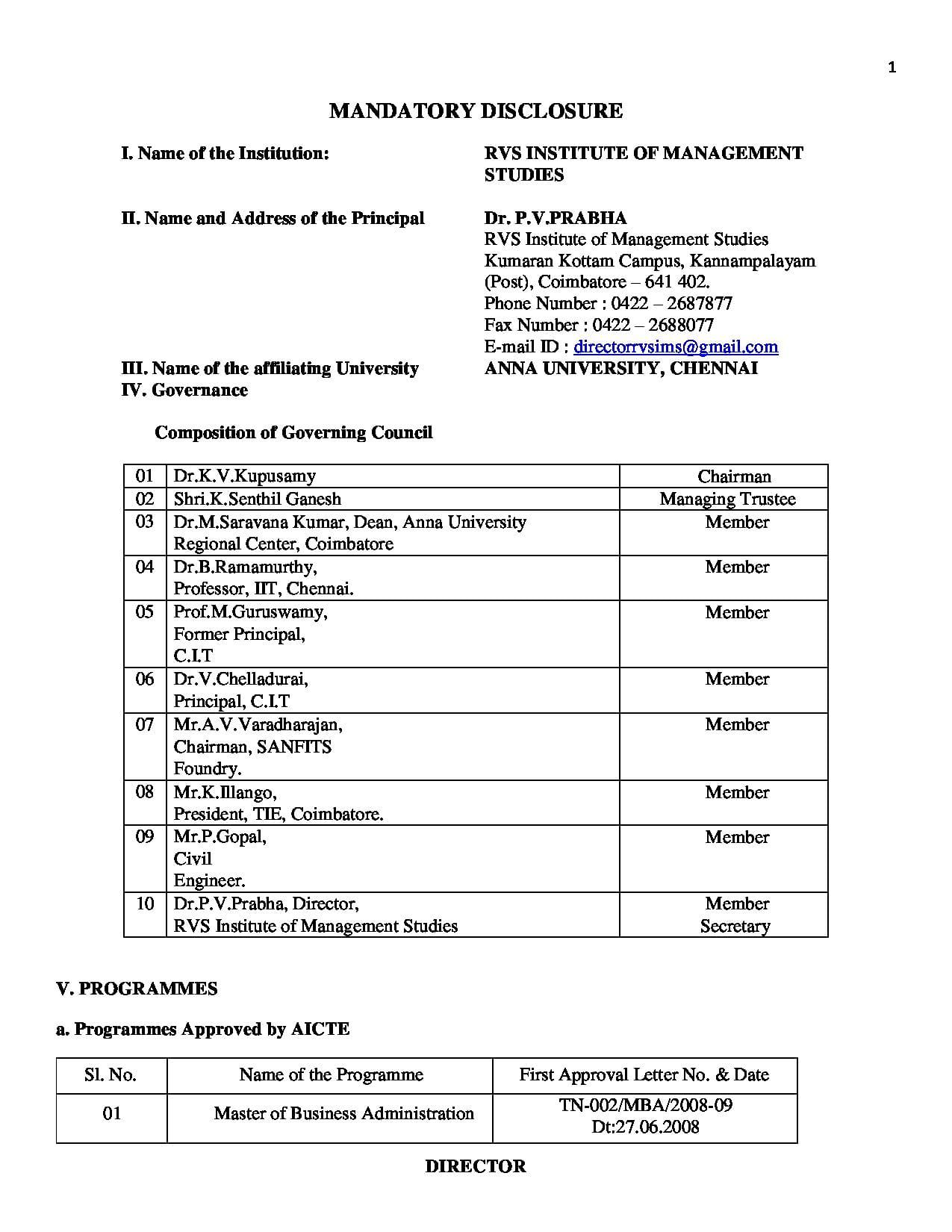RVS Institute of Management studies Kannampalayam - [RVSIMS ...