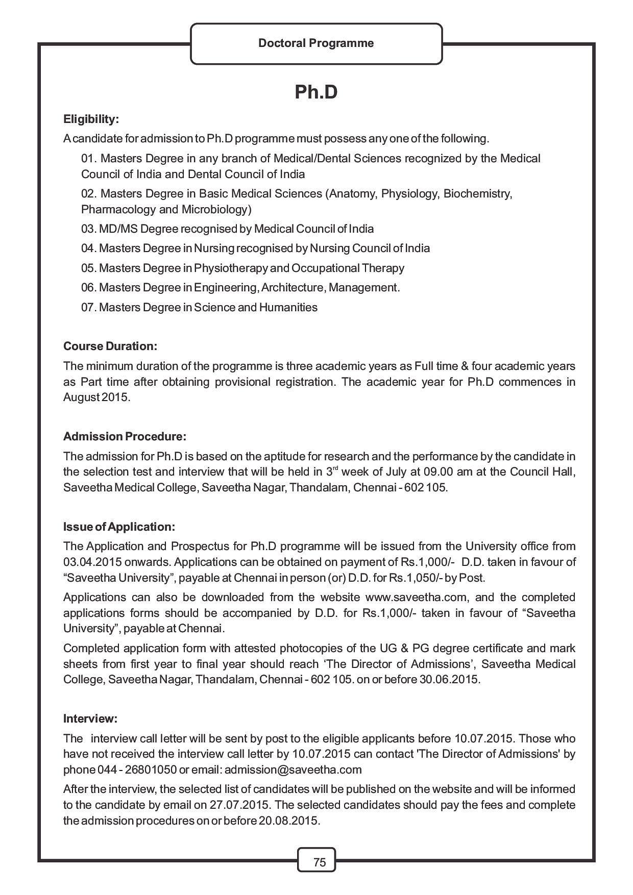 Saveetha university chennai admissions contact website saveetha university chennai college information brochure phd in medicine image 1 aiddatafo Gallery