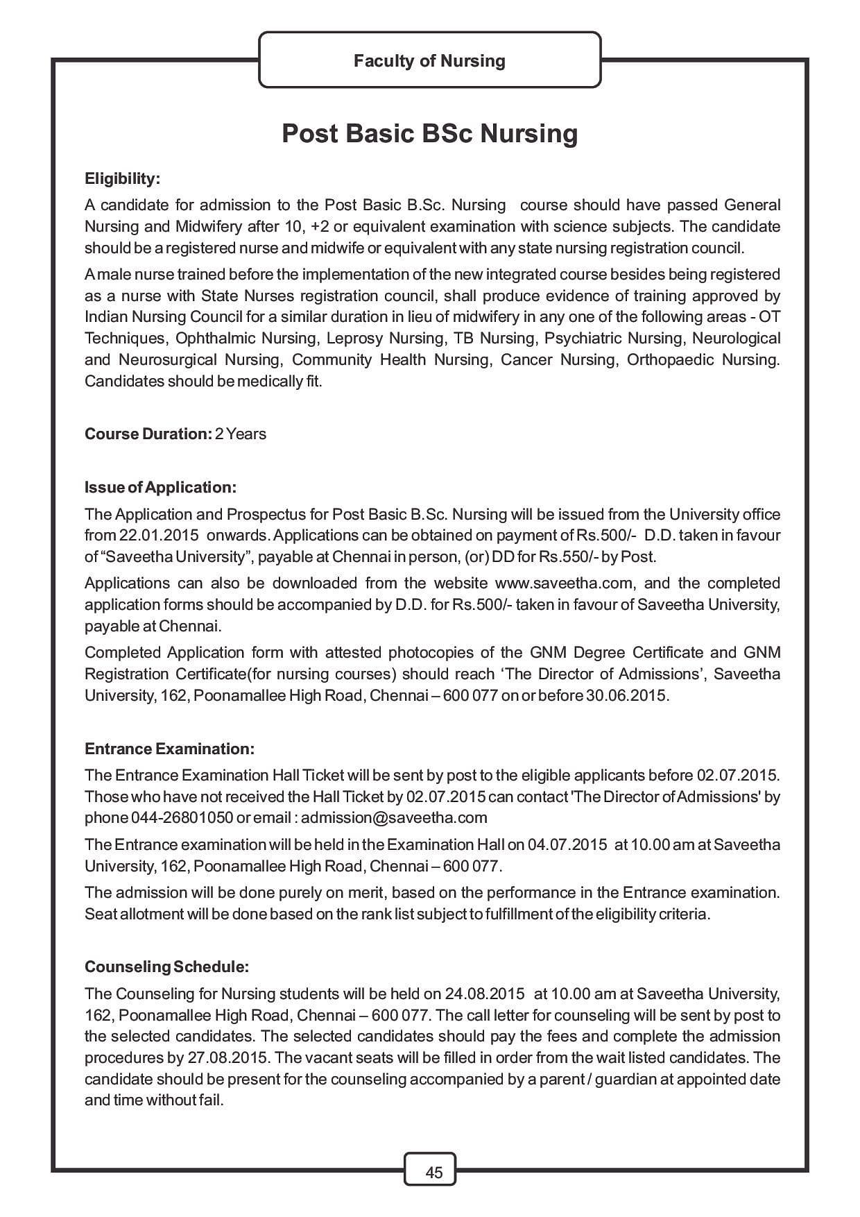 Saveetha university chennai admissions contact website saveetha university chennai college information brochure b nursingpost basic aiddatafo Gallery