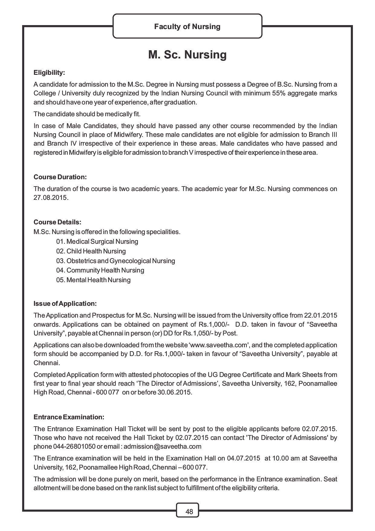 Saveetha university chennai admissions contact website saveetha university chennai college information brochure m nursing image 1 aiddatafo Gallery