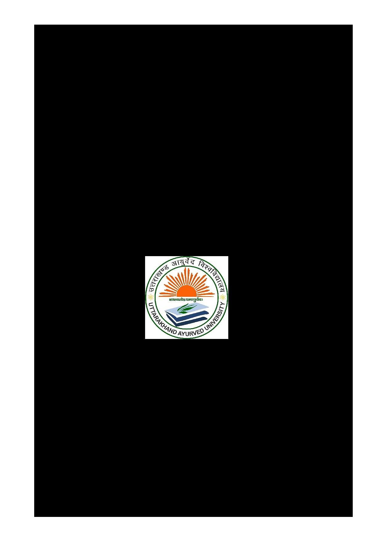Uttarakhand Ayurveda University, Dehradun - Admissions