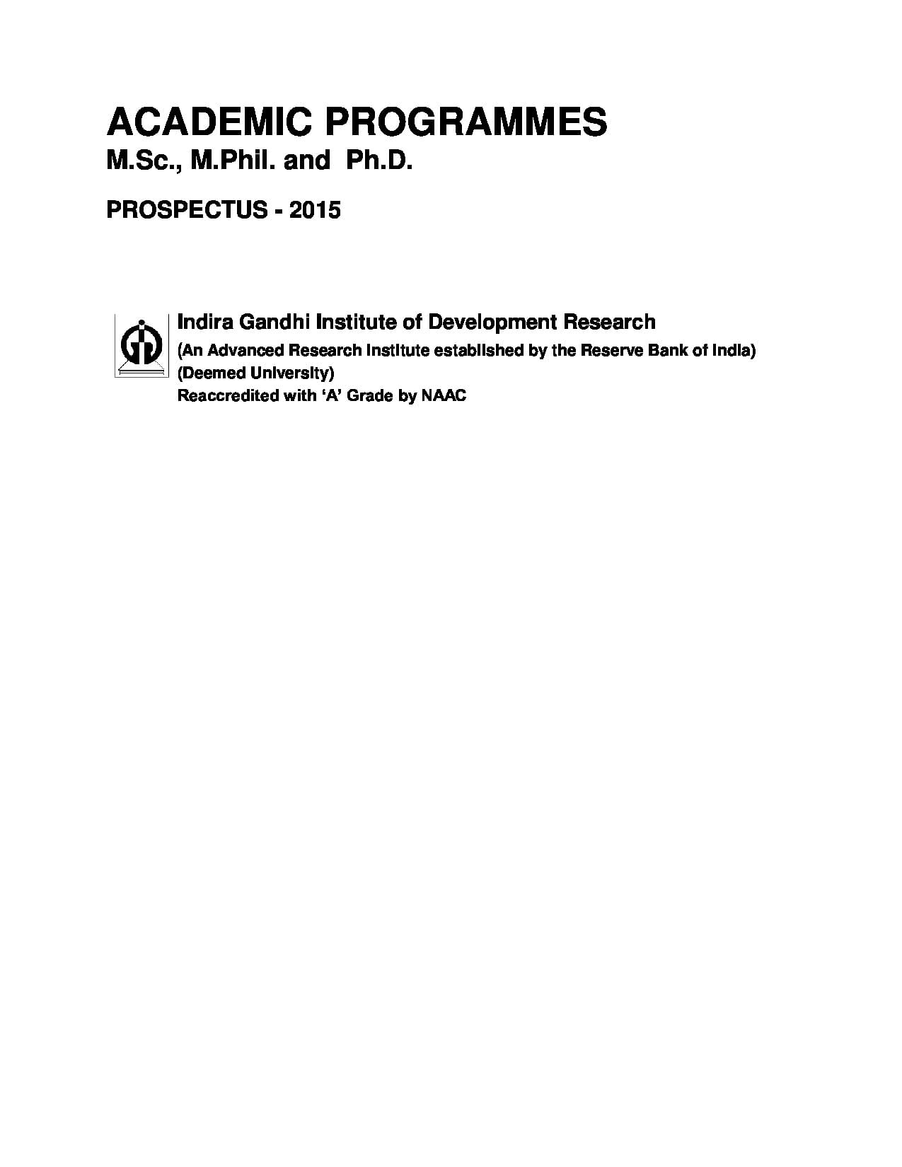 indira gandhi research paper Indira gandhi institute of development research about us synergy between research and teaching call for papers :.