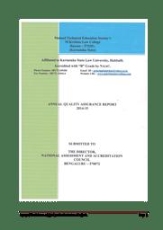 Annual Quality Assurance Report (AQAI)
