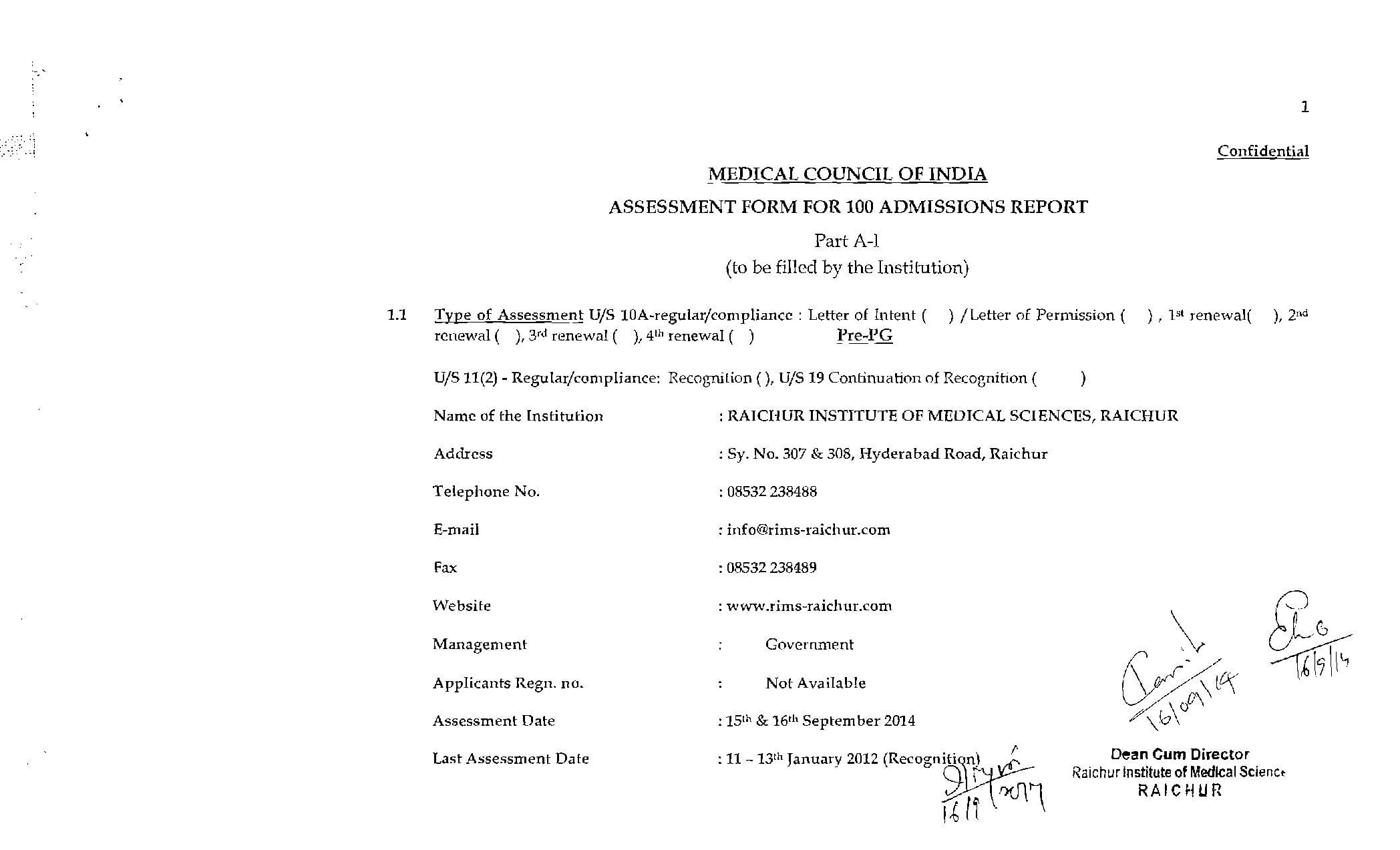 Raichur institute of medical sciences tenders dating