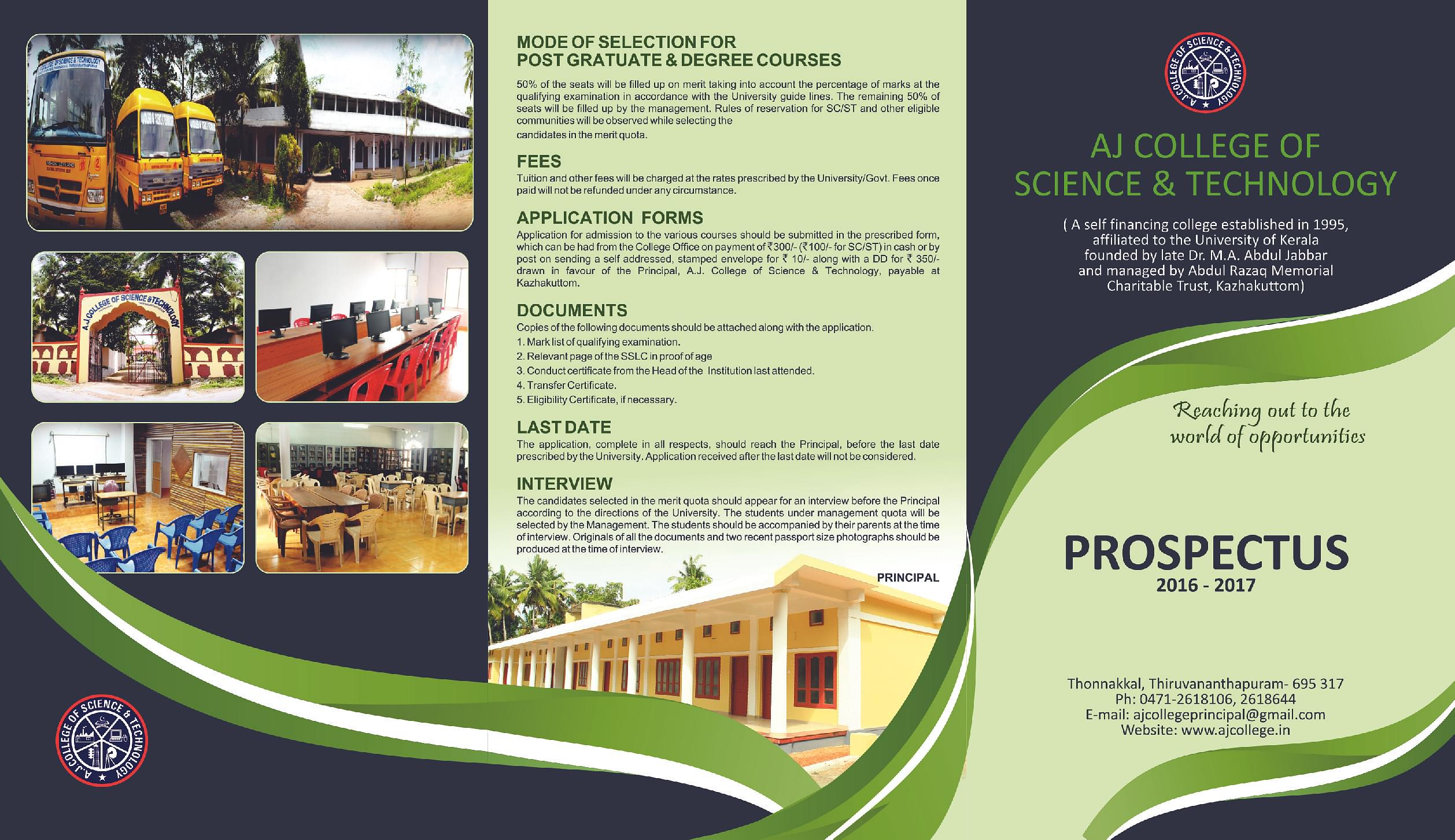 College Brochure | A J College Of Science And Technology Thonnakkal