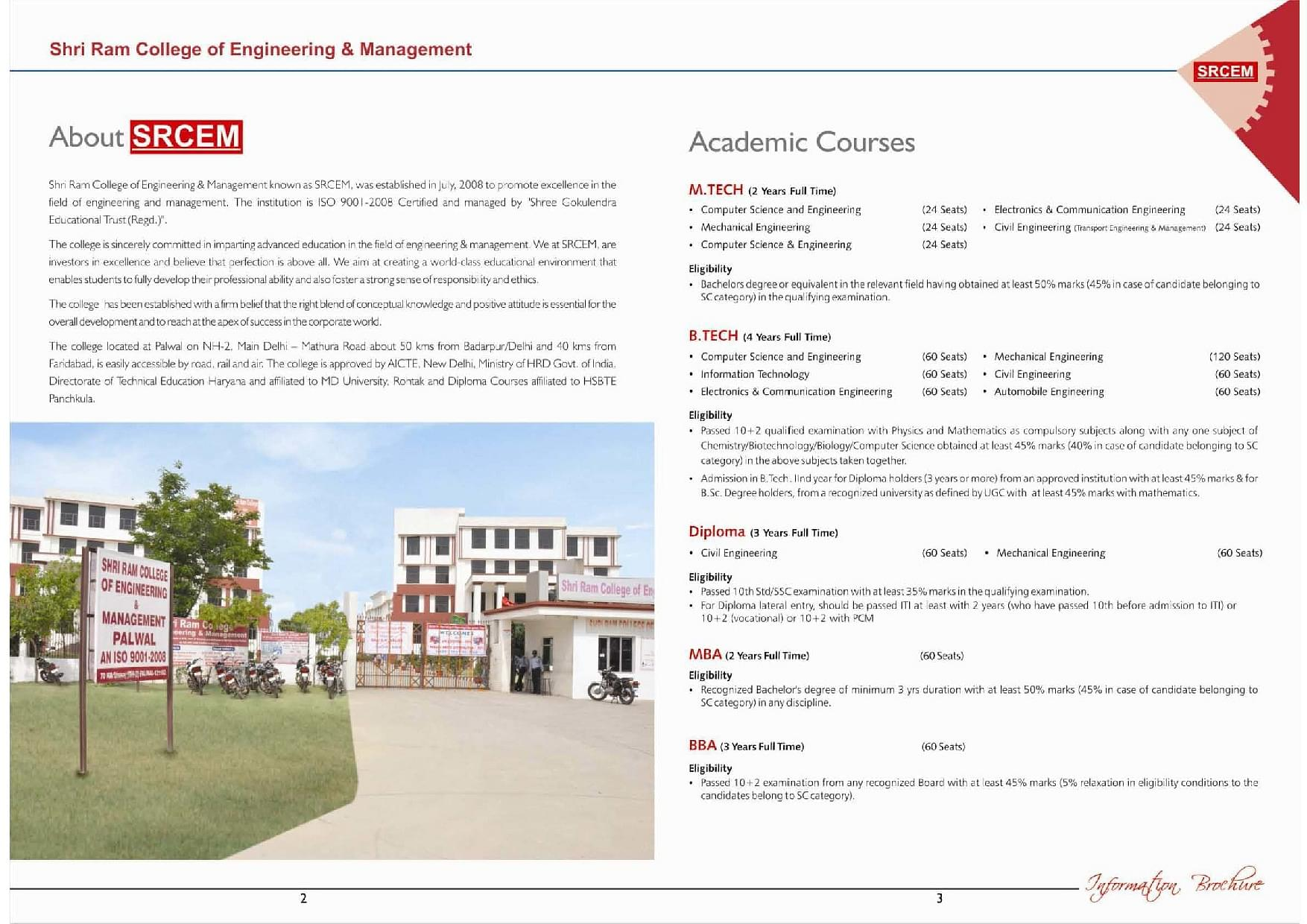 Shri Ram College of Engineering and Management - [SRCEM], Palwal - Admissions, Contact, Website ...