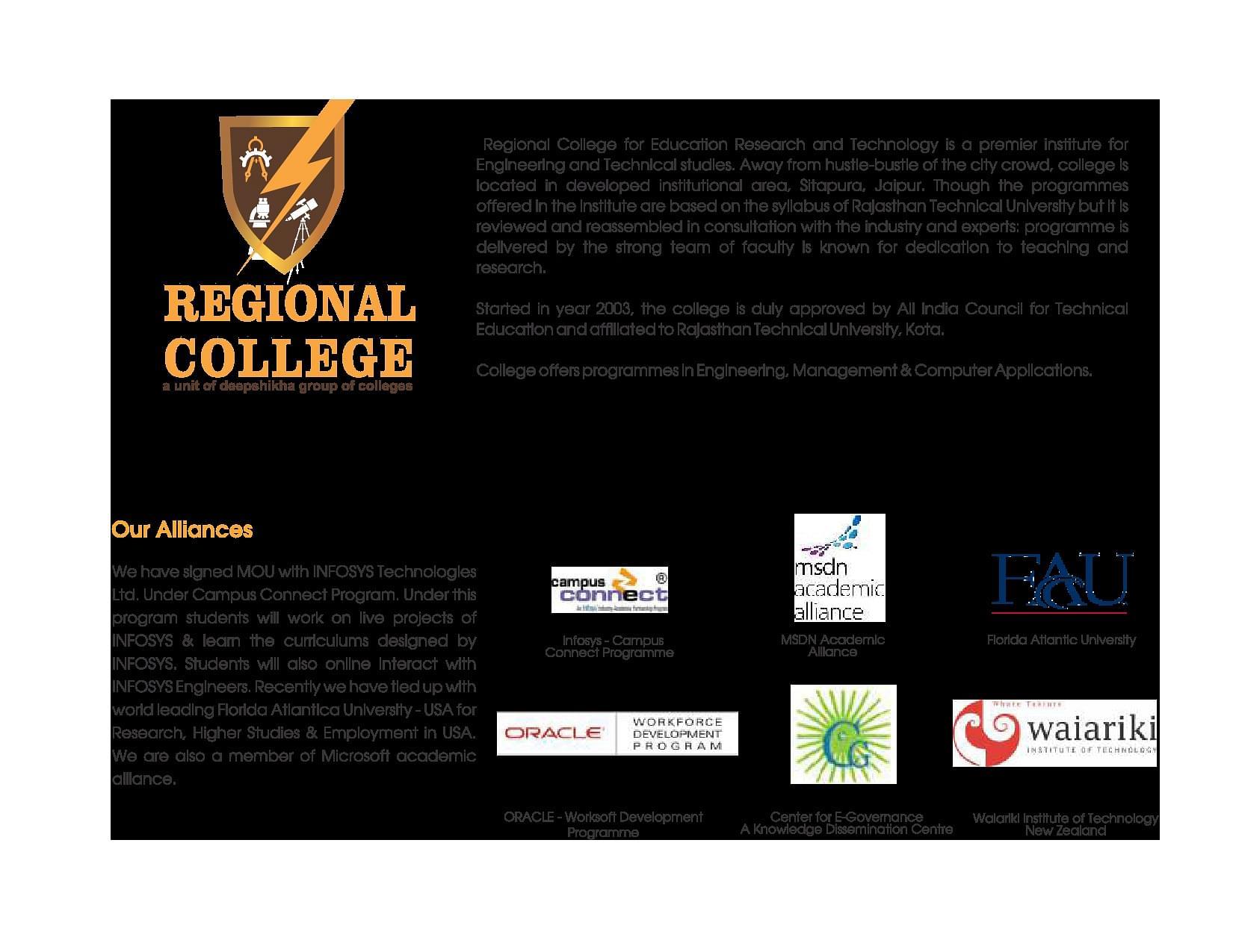 Regional College Jaipur Admissions Contact Website