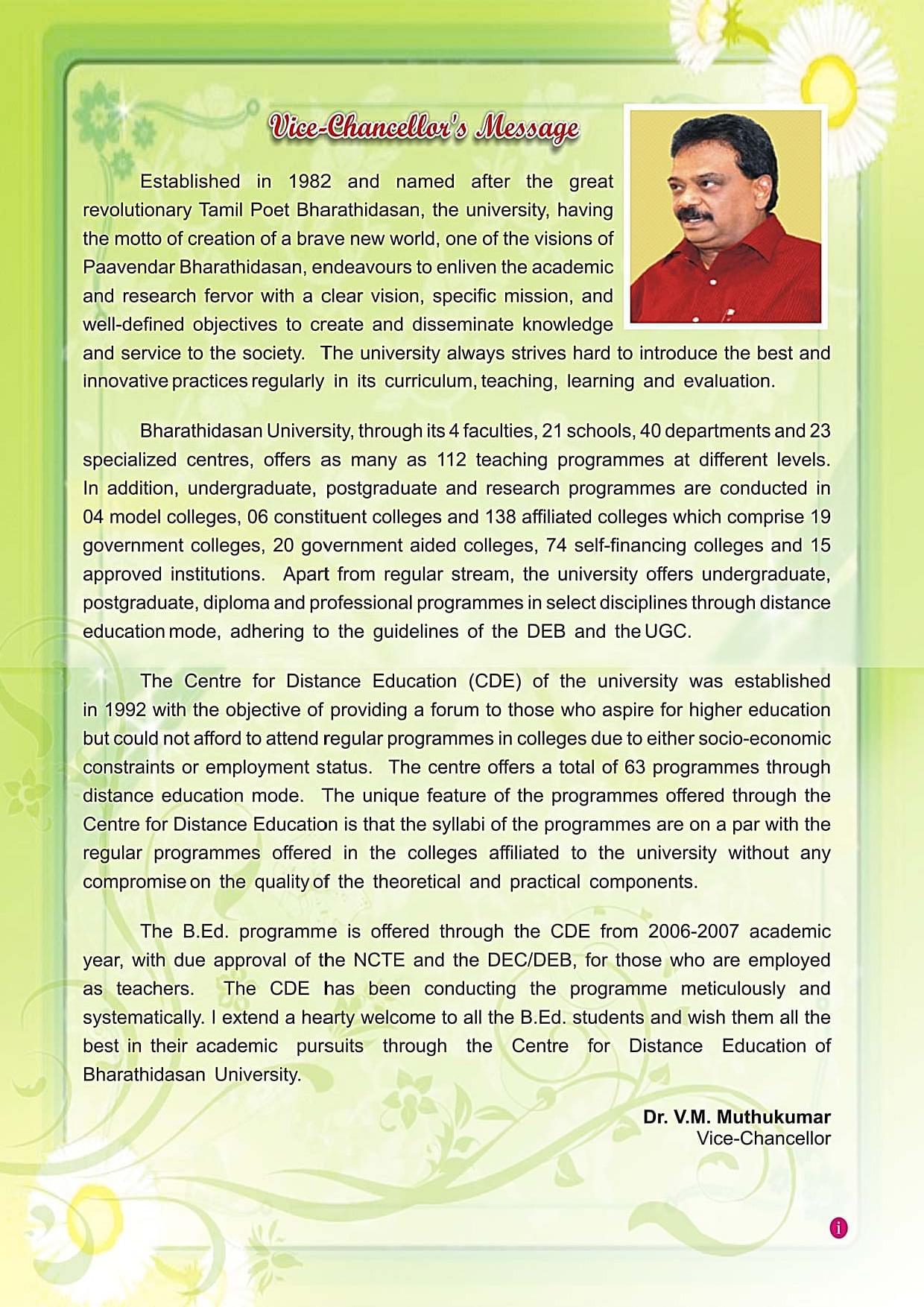 Bharathidasan University Centre For Distance Education