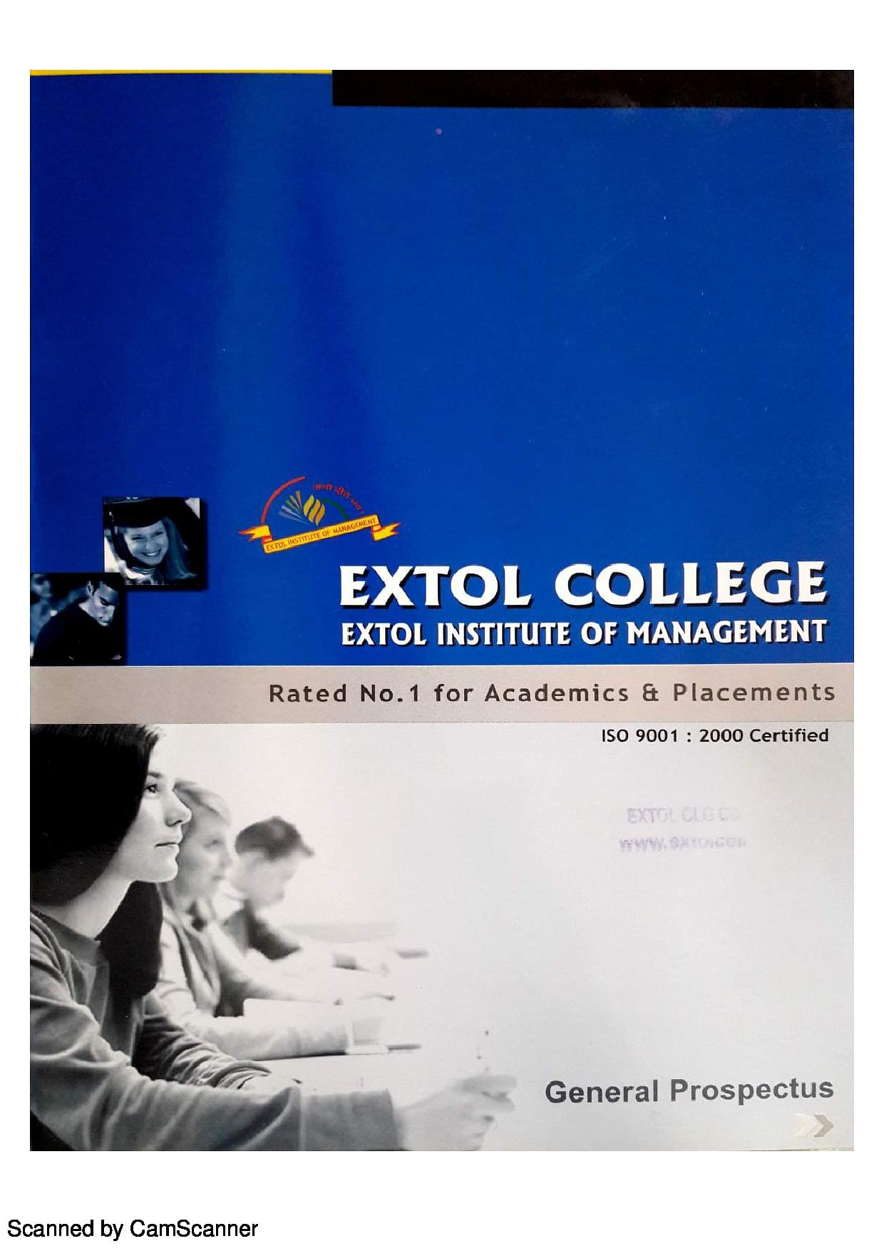 extol college About extol institute of management and technology extol institute of managemente and technology is affiliated to barkatullah university the college has been continuously rated as no1 institutions group in professional higher education in central india by leading magazines, government rating agencies and policy makers.