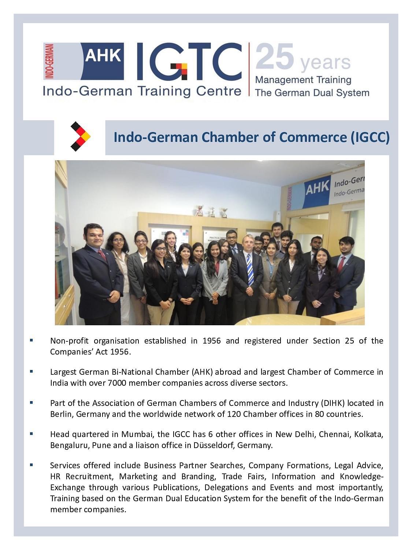 Indo German Training Centre - [IGTC], Bangalore - Admissions