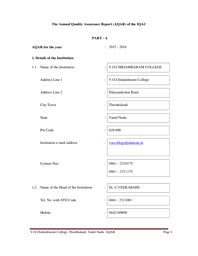 College Information brochure- AQAR Report 2015