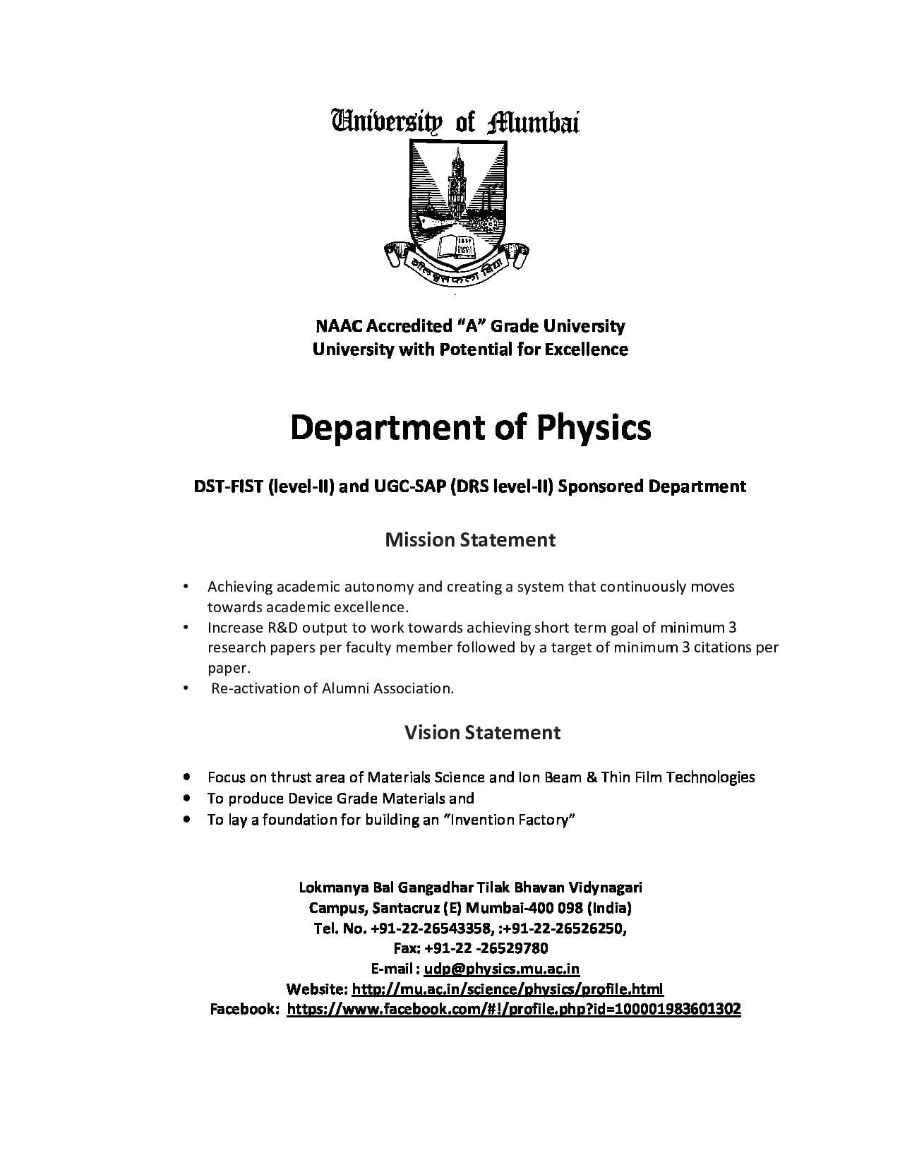 University of mumbai mumbai admissions contact website 2016brochure malvernweather Choice Image