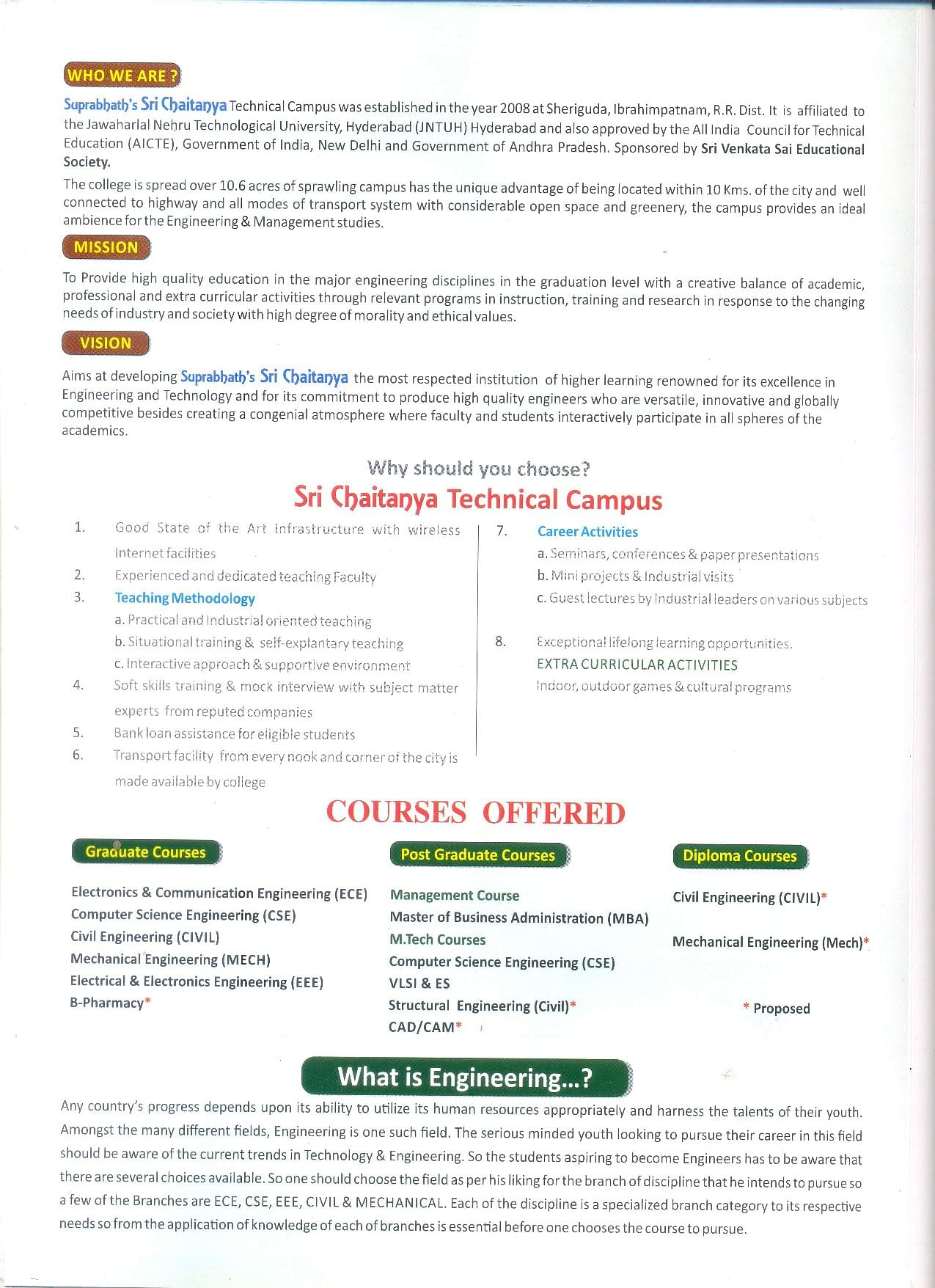 Sri Chaitanya Technical Campus, Rangareddi - Admissions