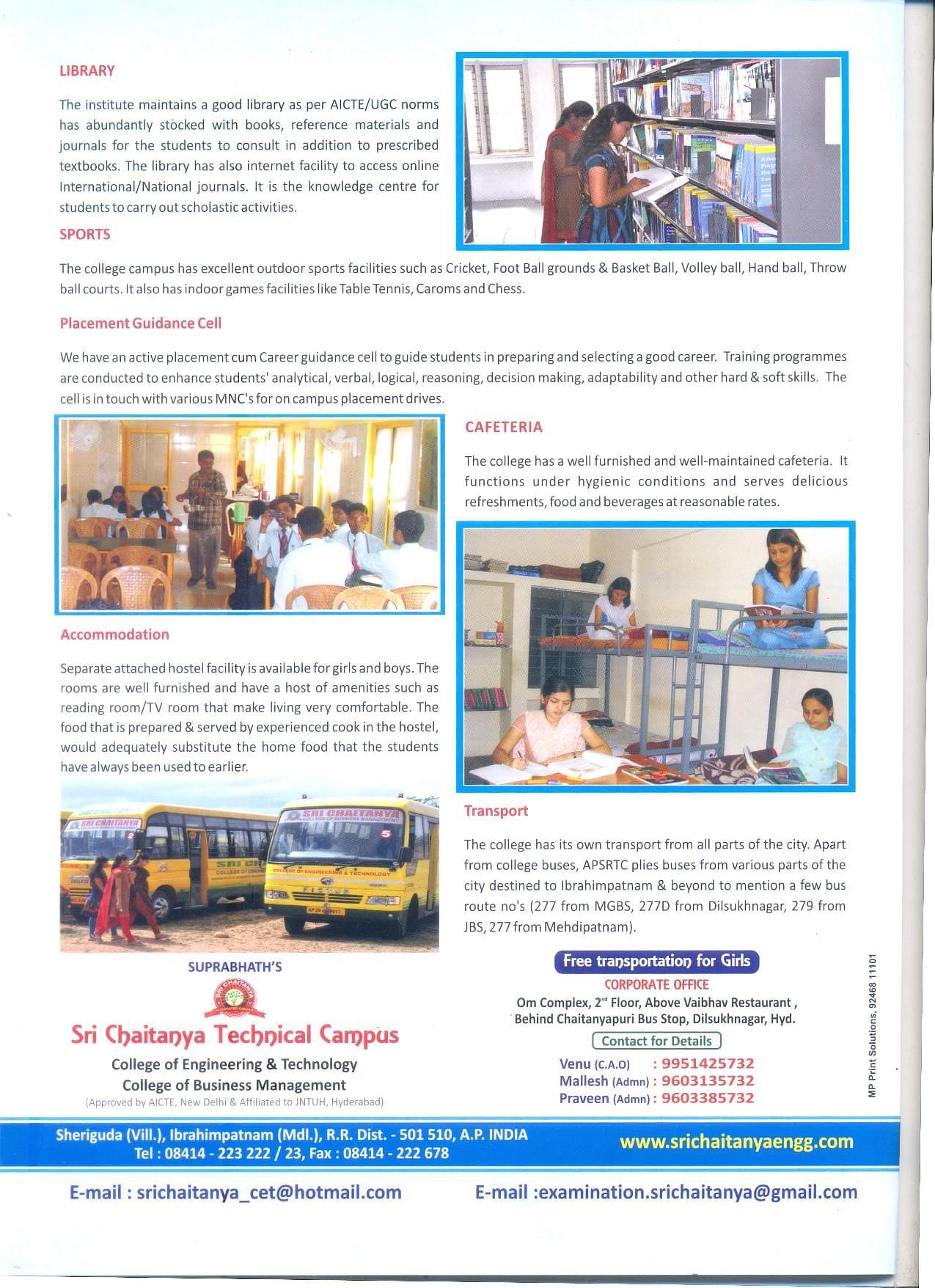 Sri Chaitanya Technical Campus, Rangareddi - Admissions, Contact