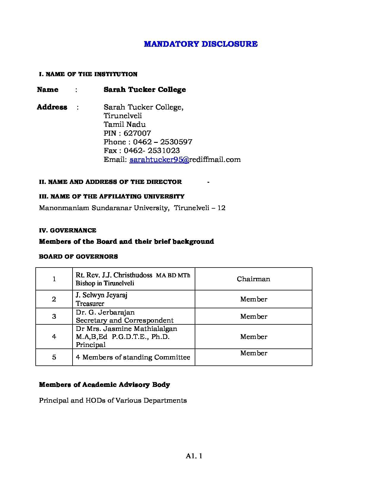 Sarah tucker college tirunelveli admissions contact website sarah tucker college tirunelveli mandatory disclosure mca image 1 aiddatafo Image collections
