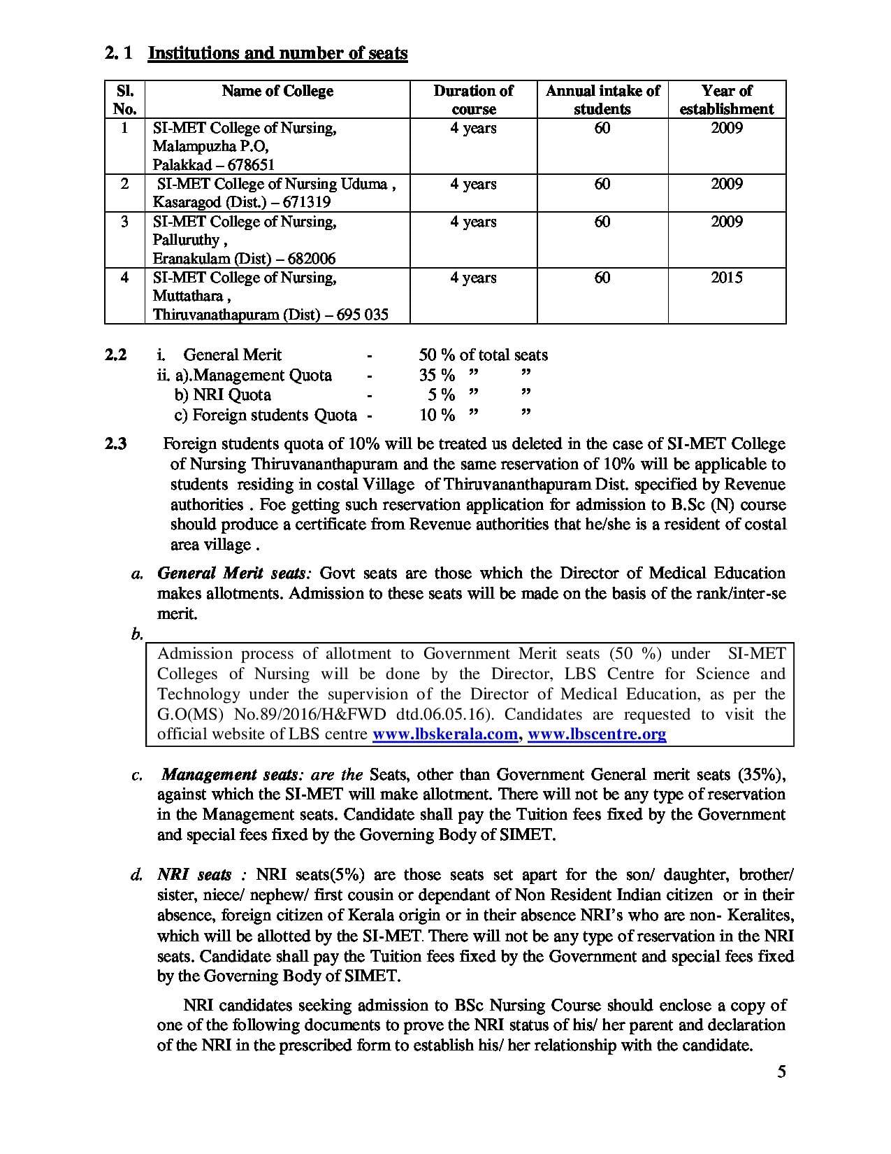 SIMET College of Nursing Mangattuparamba, Kannur - Admissions