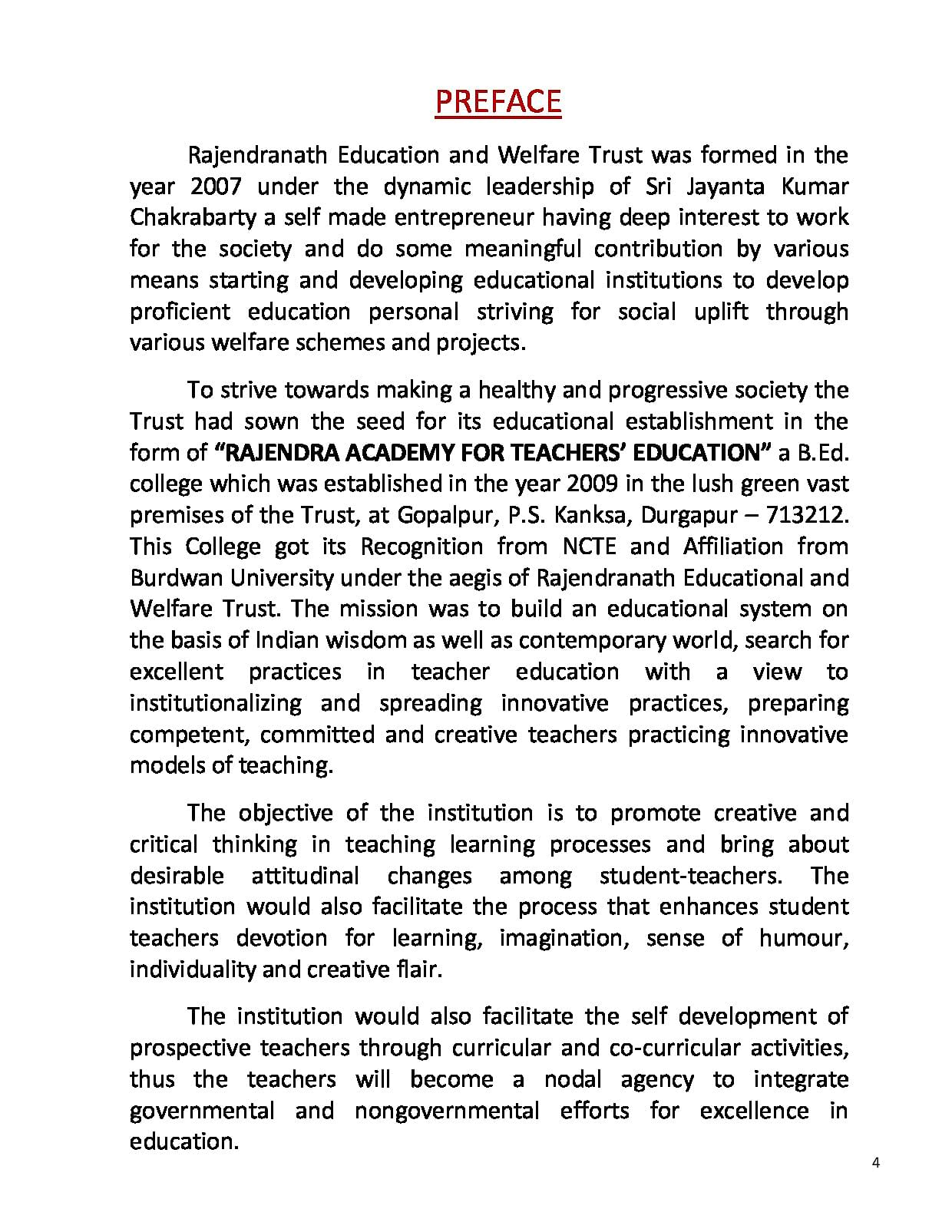 Rajendra Academy for Teacher's Education, Durgapur - Admissions