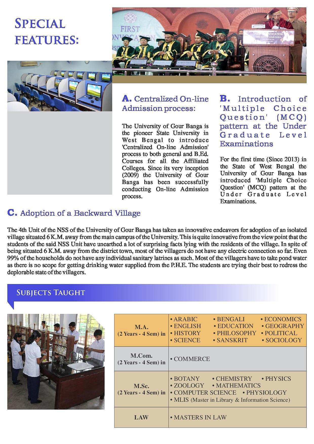 Gour Banga University, Malda - Admissions, Courses, Fees