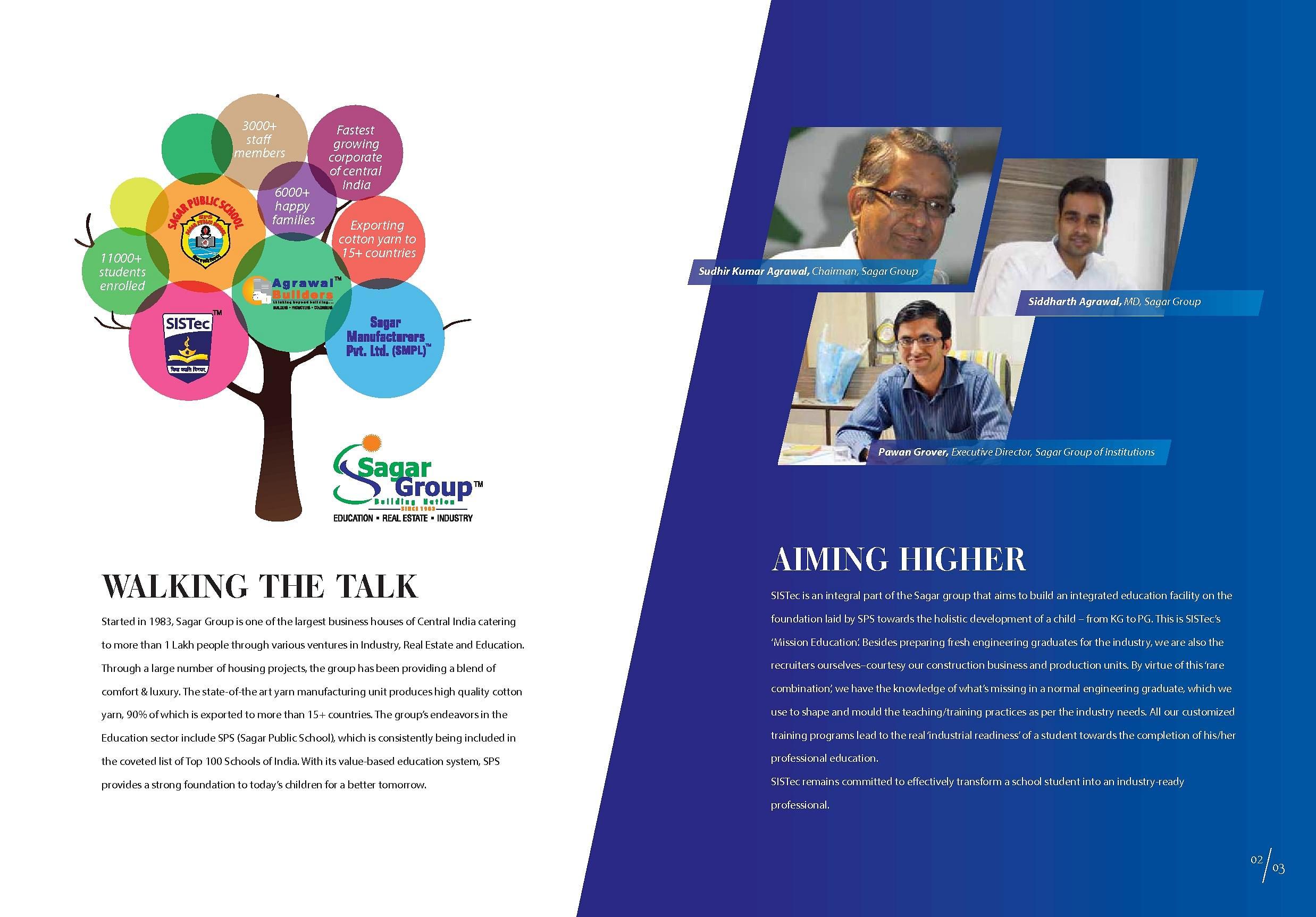 Sistec school of management studies sistec mba sagar for Placement brochure design