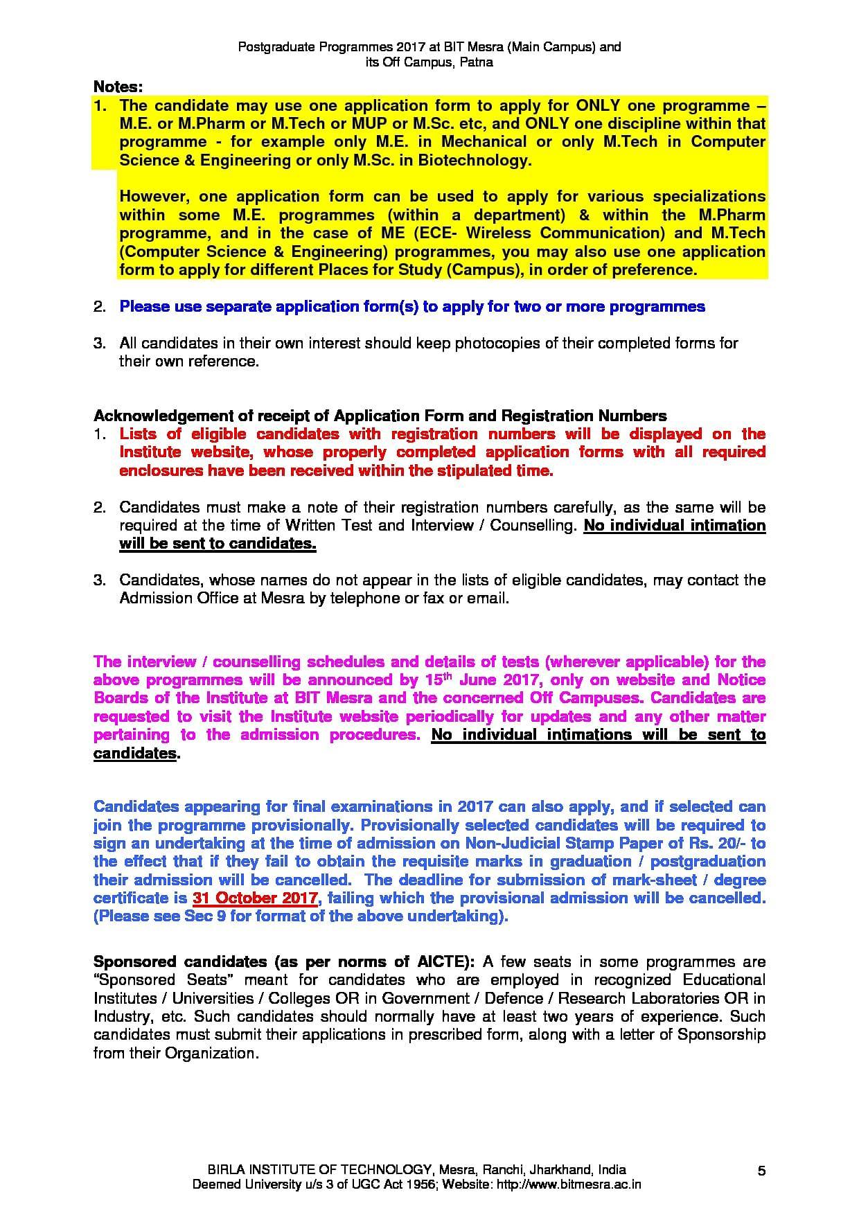 Birla Institute of Technology - [BIT Mesra], Ranchi - Admissions ...