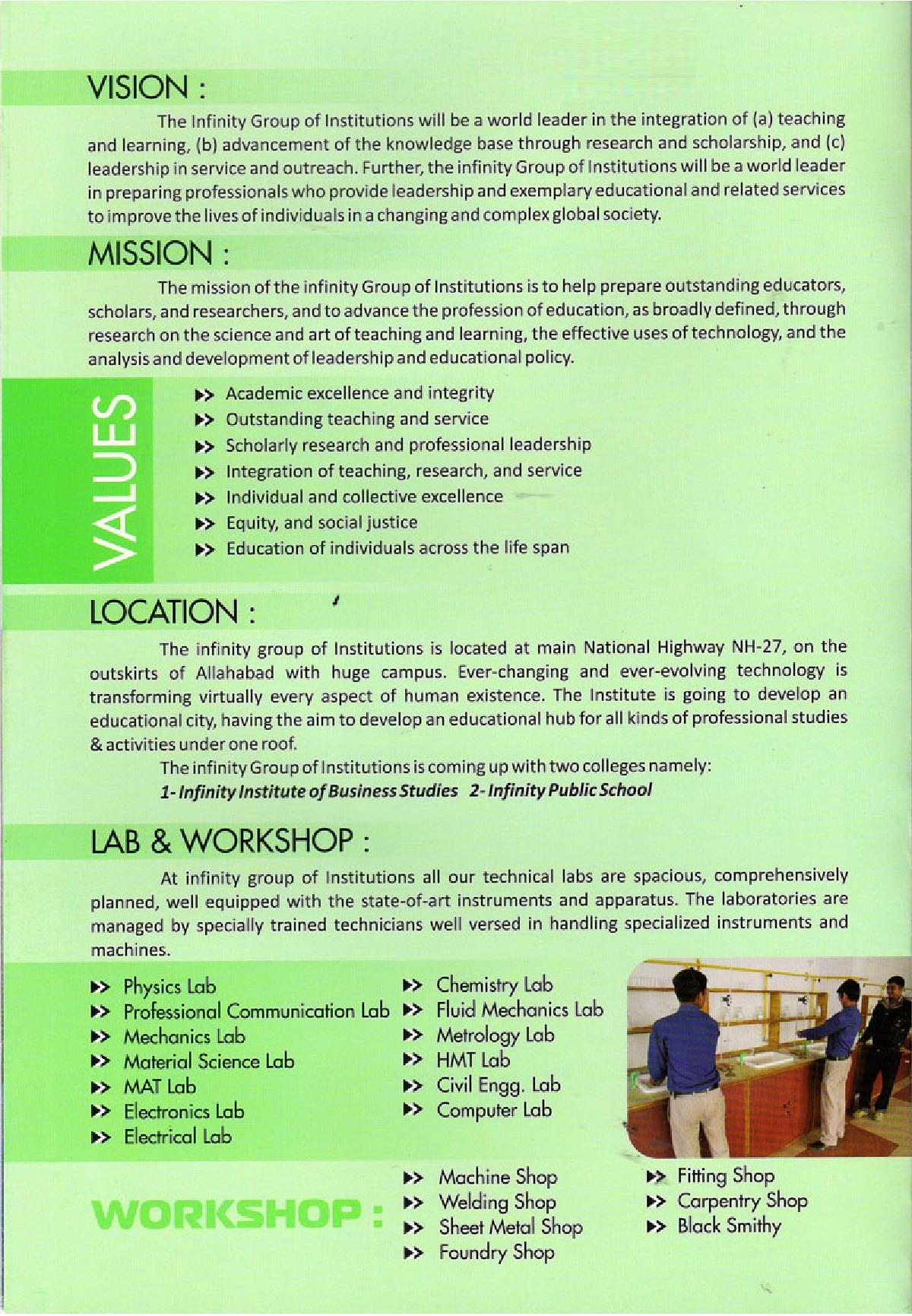 Infinity Institute of Technology, Allahabad - Admissions