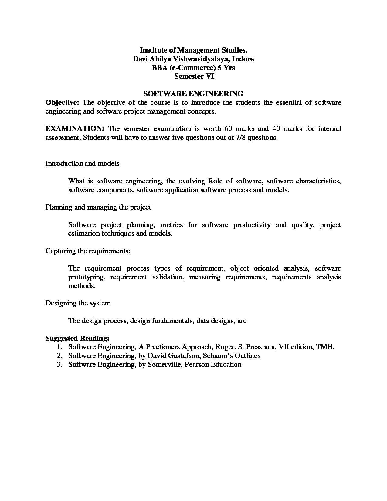 Institute of Management Studies, Devi Ahilya Vishwavidyalaya - [IMS