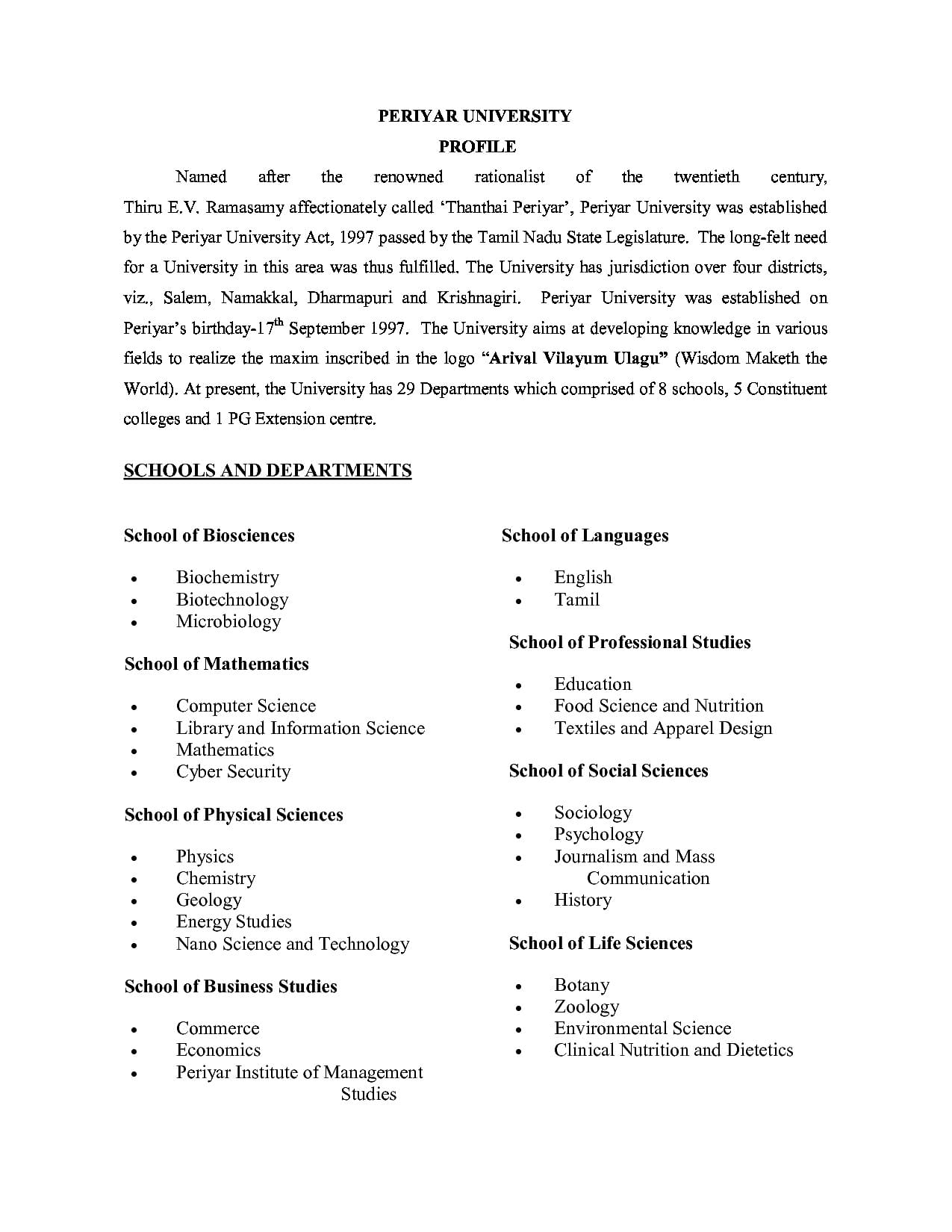 Periyar University, Salem - Fees Structure, Courses, Admission