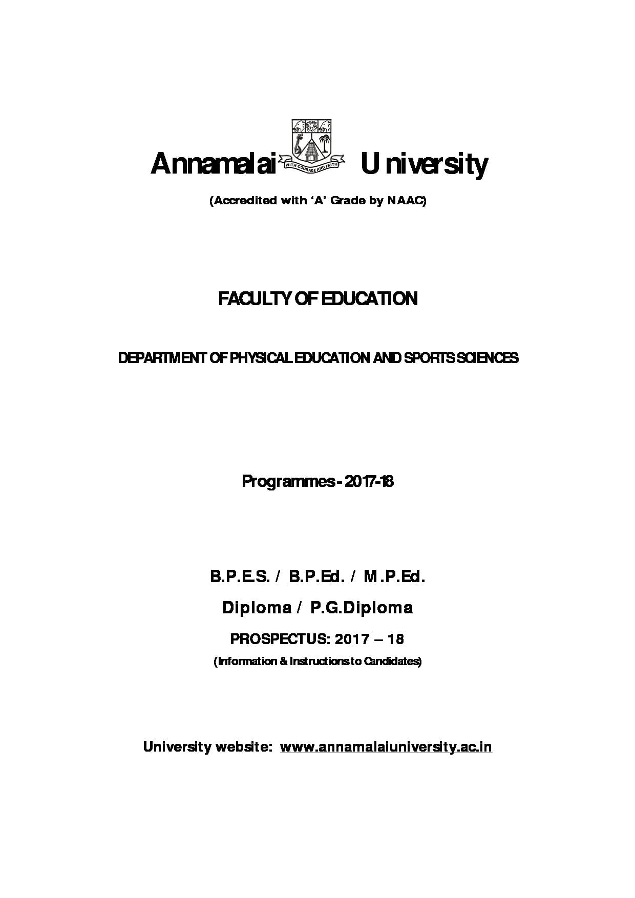 annamalai university distance education courses prospectus pdf