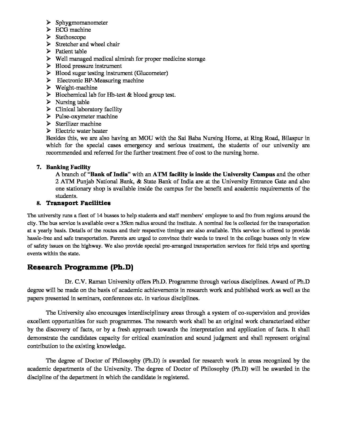 dr  cv raman university  bilaspur