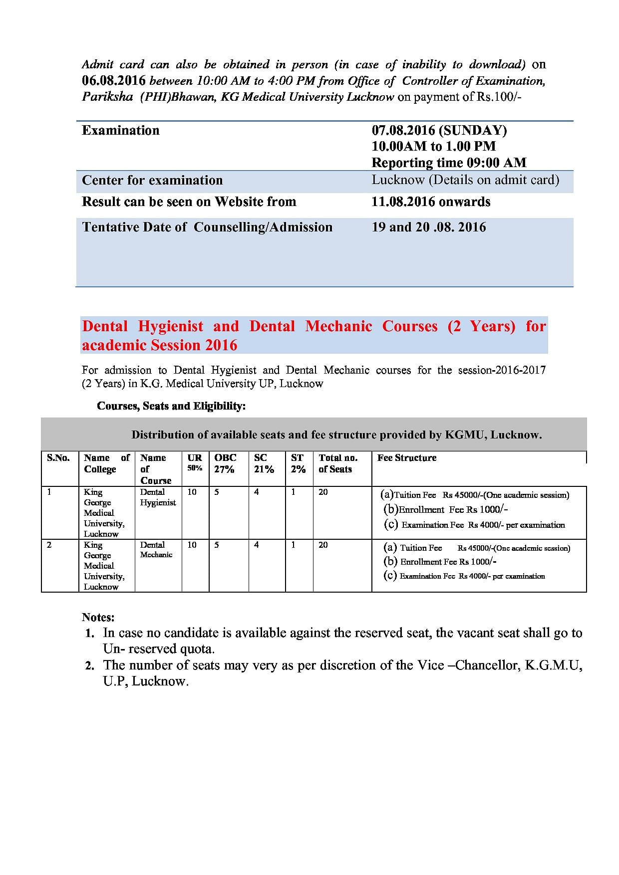 King George's Medical College (KGMU), Lucknow - Admissions, Courses