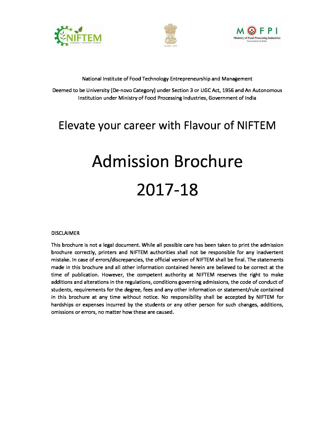 National Institute of Food Technology Entrepreneurship and
