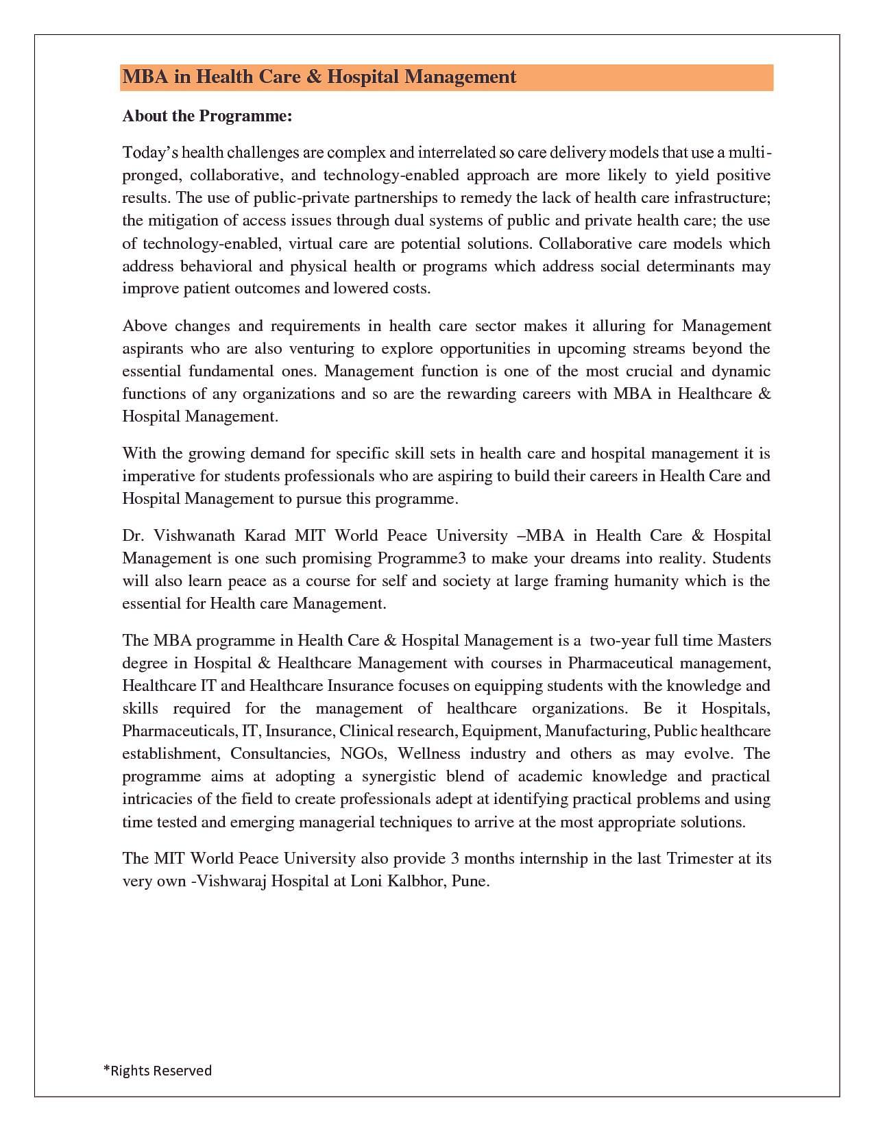 mba hospital management syllabus pdf