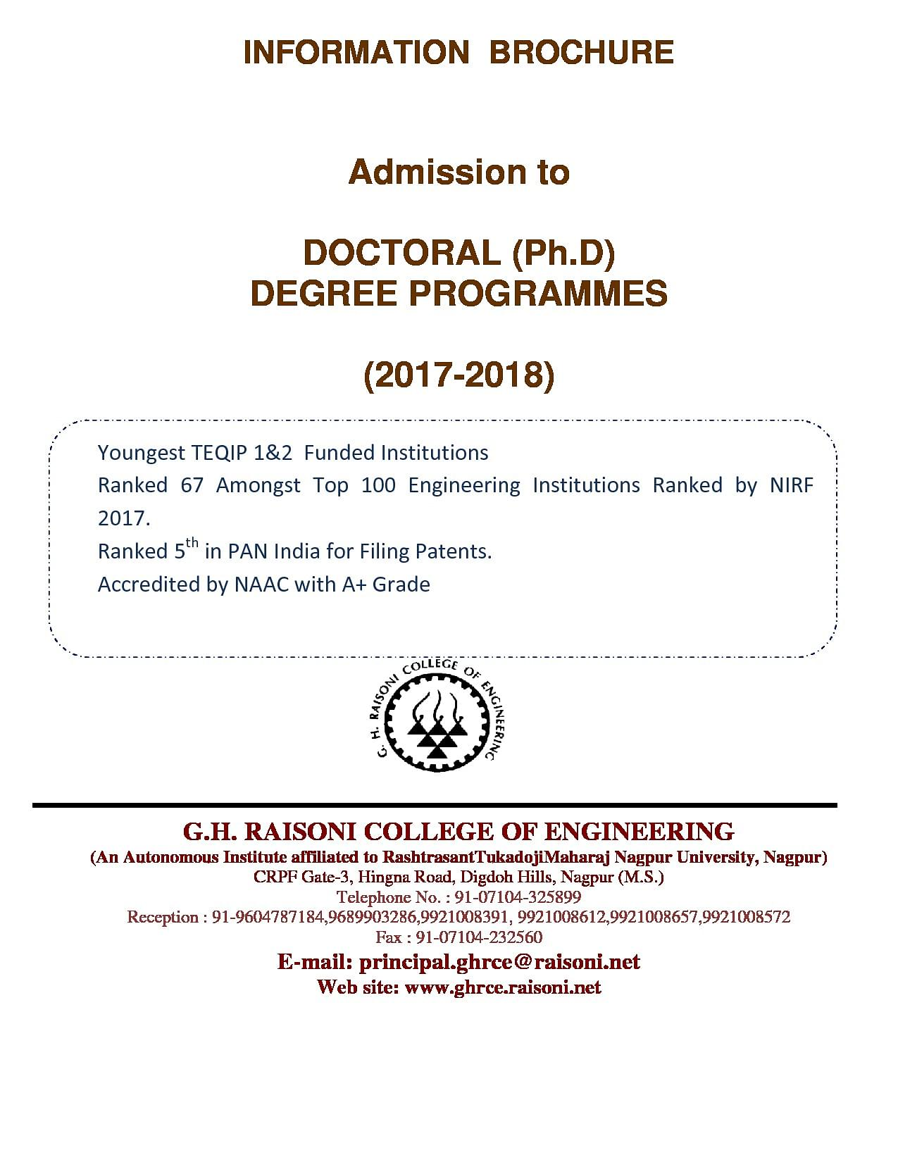 GH Raisoni College of Engineering - [GHRCE], Nagpur Ph.D Information  Brochure