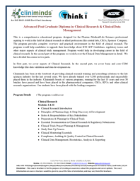 Advanced Post Graduate Diploma in Clinical Research and Data Management