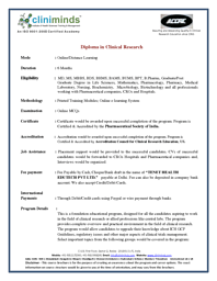 Diploma in Clinical Research