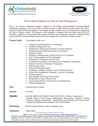 Post Graduate Diploma in Clinical Trials Management