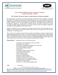 Post Graduate Diploma in Bio analytical Techniques