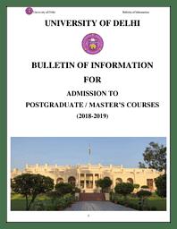 DU PG Admission Bulletin 2018