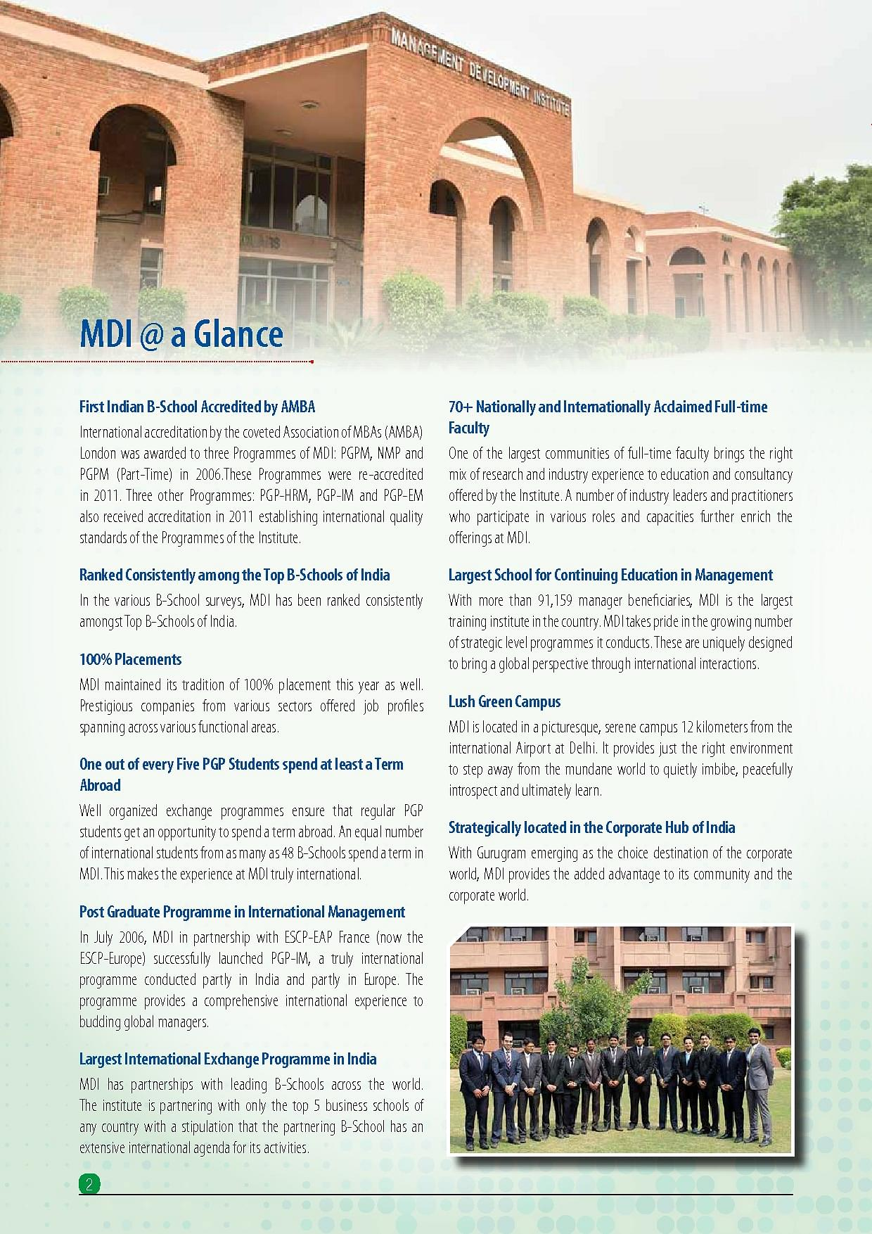Mdi Gurgaon Courses Fees Admission Ranking Placements