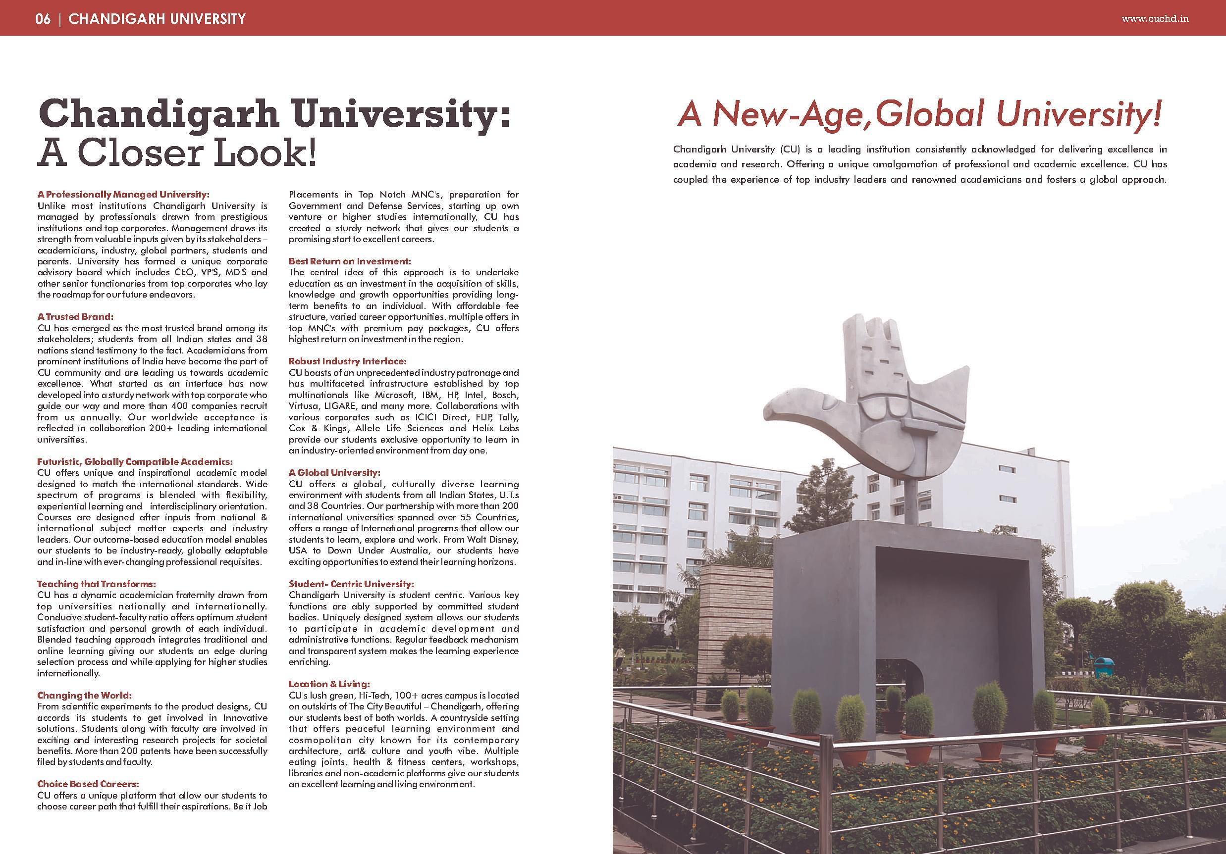 Chandigarh University (CU), Chandigarh - Admissions, Courses