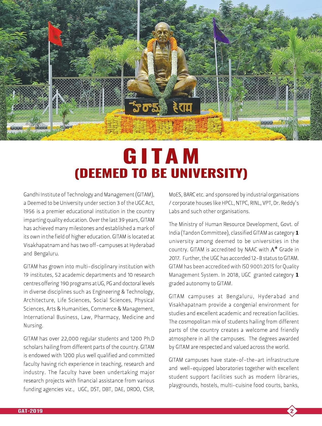 GITAM University, Visakhapatnam - Courses, Fees, Admission