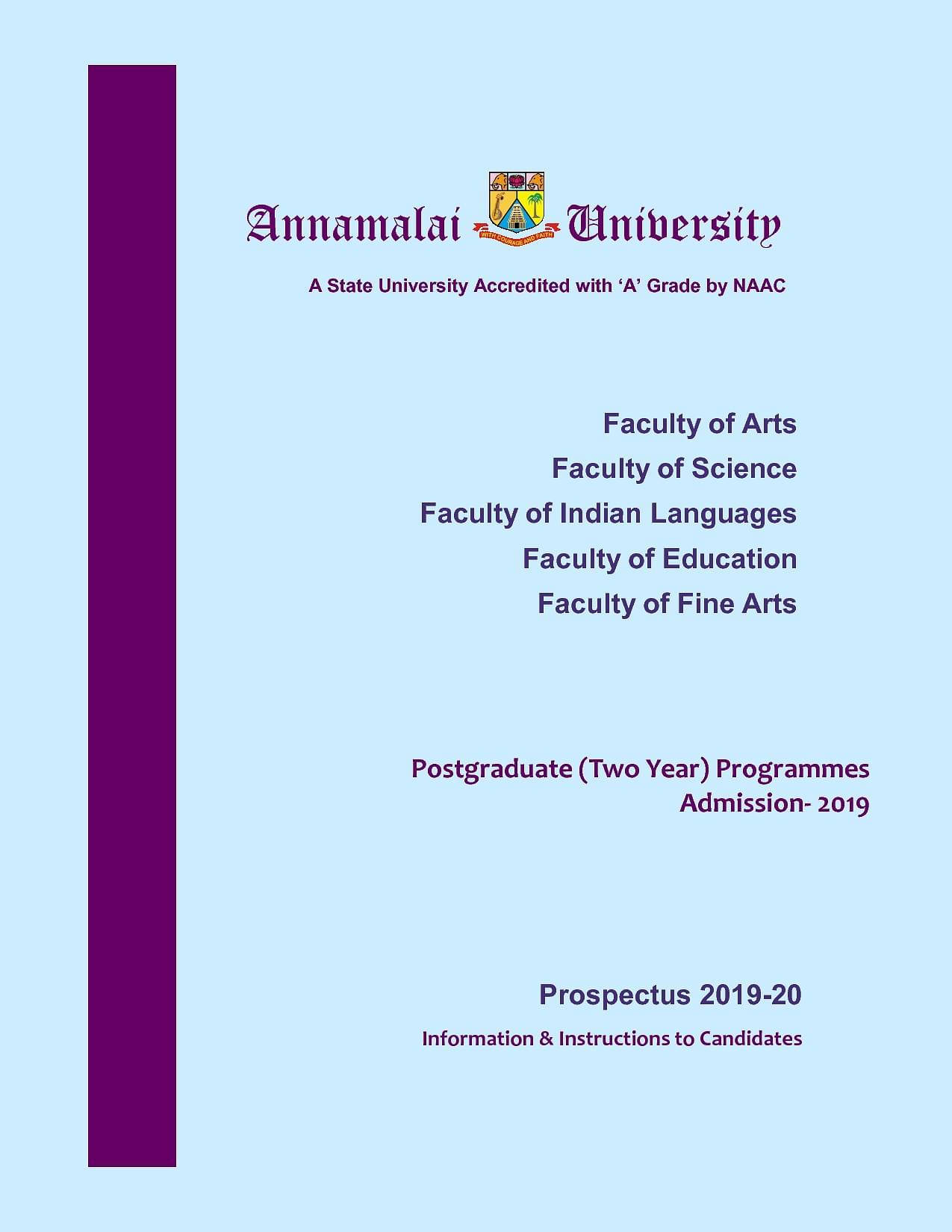 Annamalai University, Tamil Nadu - Courses, Fees, Admission