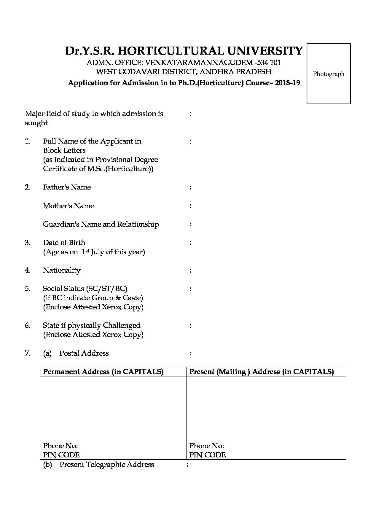 Dr  Y S R Horticultural University, Tadepalligudem - Admissions