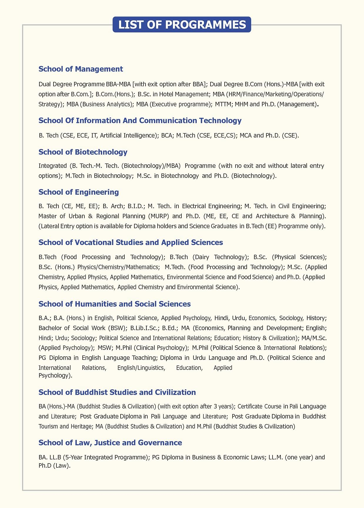 Gautam Buddha University, School of Information and