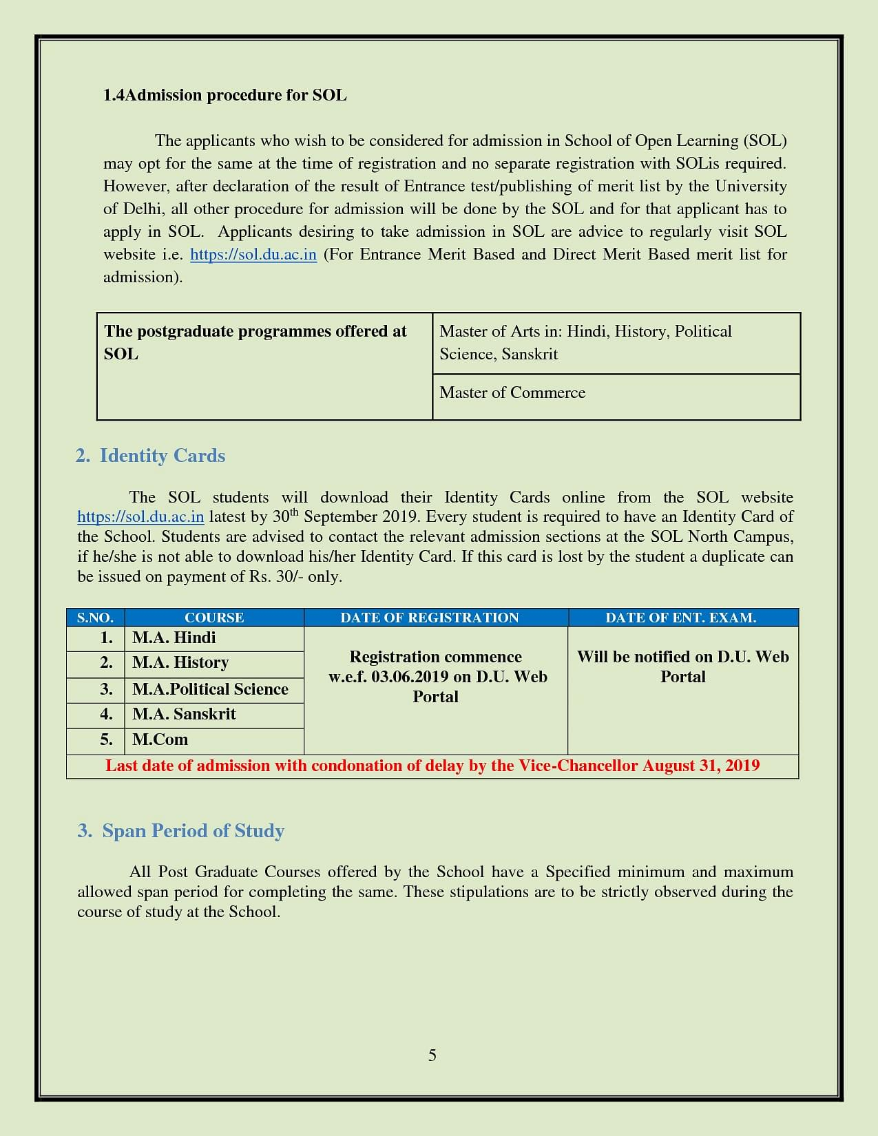 SOL DU - School of Open Learning, Delhi University - Fees Structure