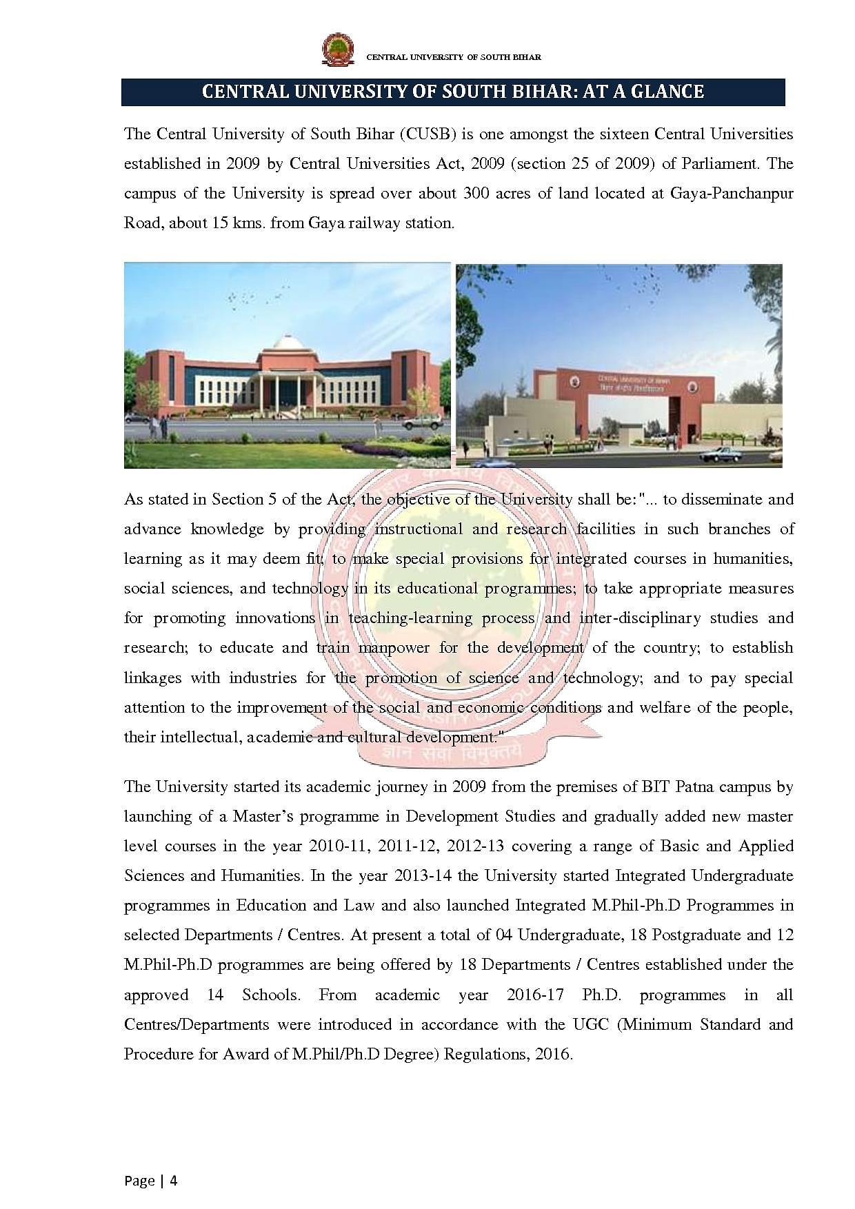 Central University of South Bihar - [CUSB], Gaya
